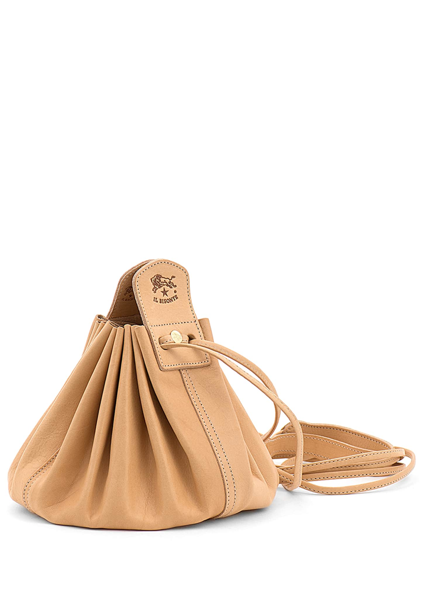 Image 2 of 4: Drawstring Leather Crossbody Pouch Bag, Beige
