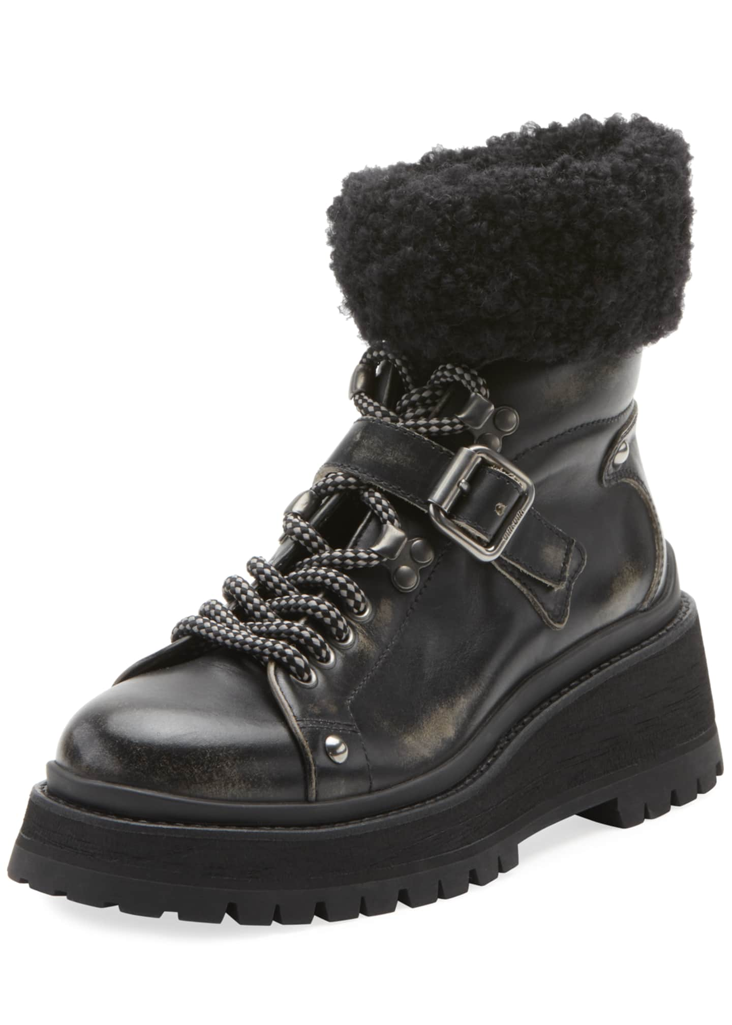 Miu Miu Lace-Up Boots with Buckle and Sock