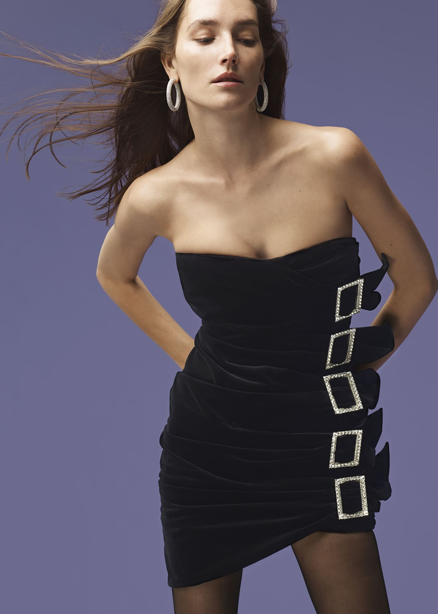 Image 2 of 4: Sweetheart-Neck Strapless 5-Buckle Ruched Velvet Mini Cocktail Dress