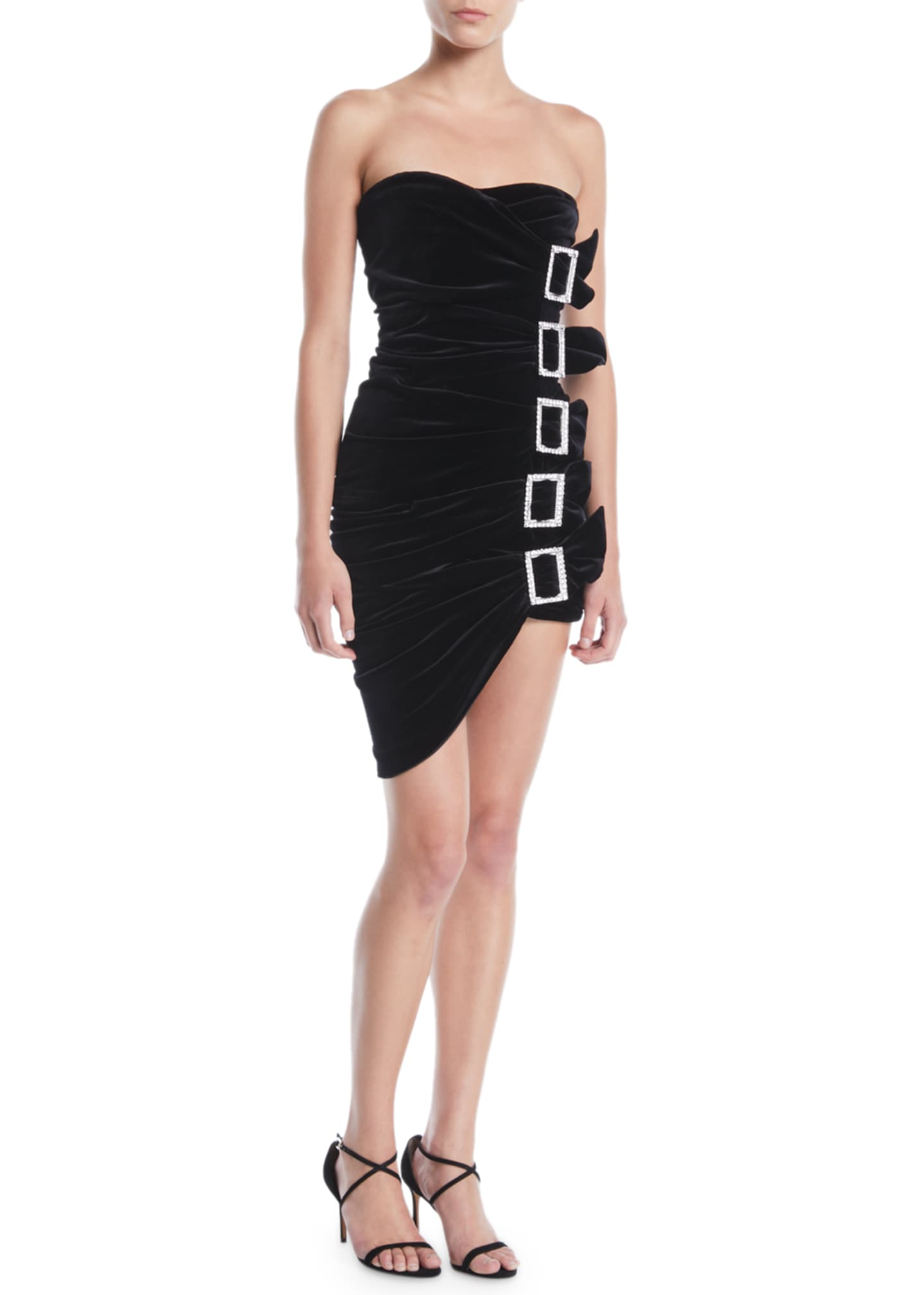 Image 1 of 4: Sweetheart-Neck Strapless 5-Buckle Ruched Velvet Mini Cocktail Dress