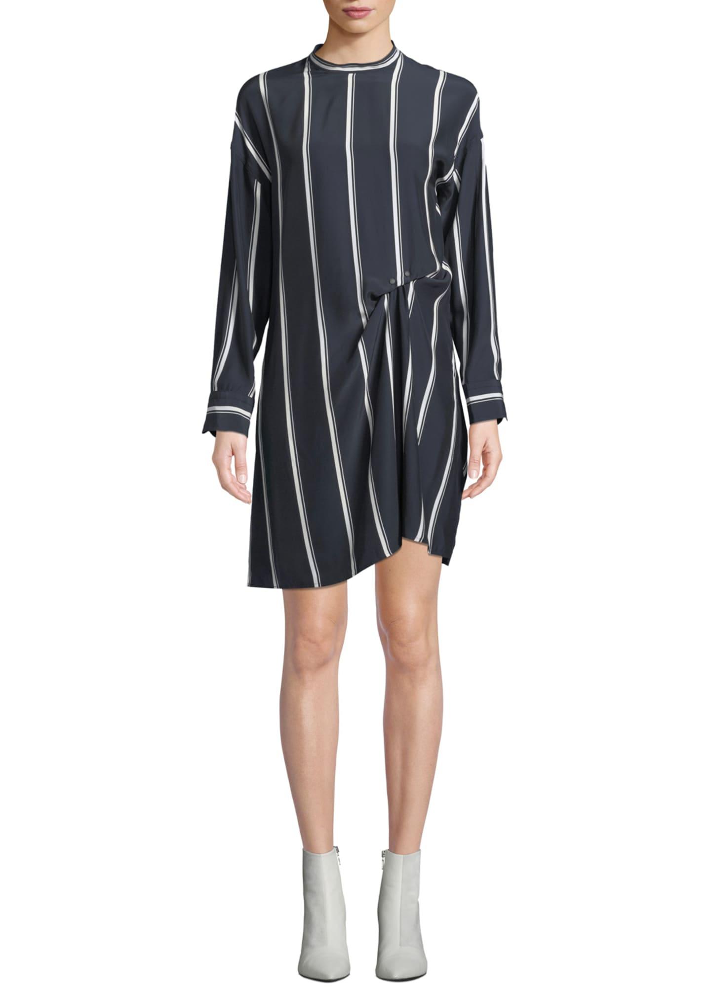 Rag & Bone Jacklin Striped Long-Sleeve Draped Silk