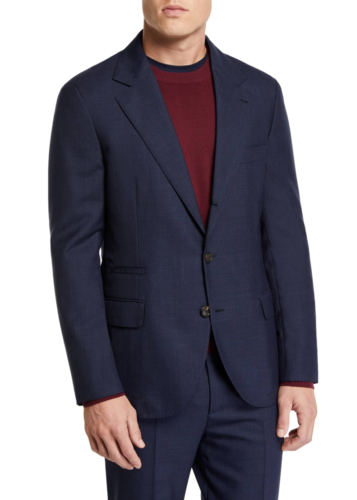 Brunello Cucinelli Men's Basic Rustic Wool Suit