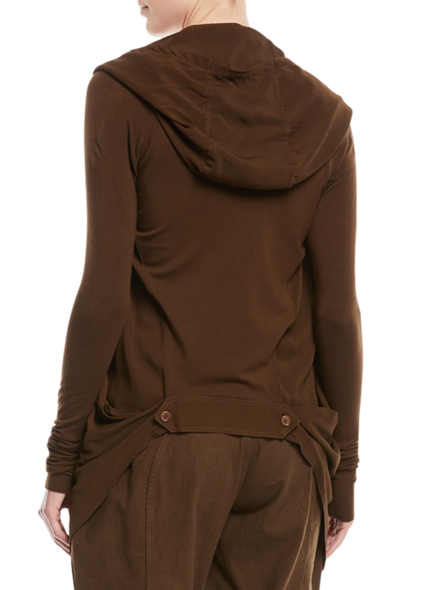 Image 2 of 2: Tie-Front Hooded Draped Cardigan