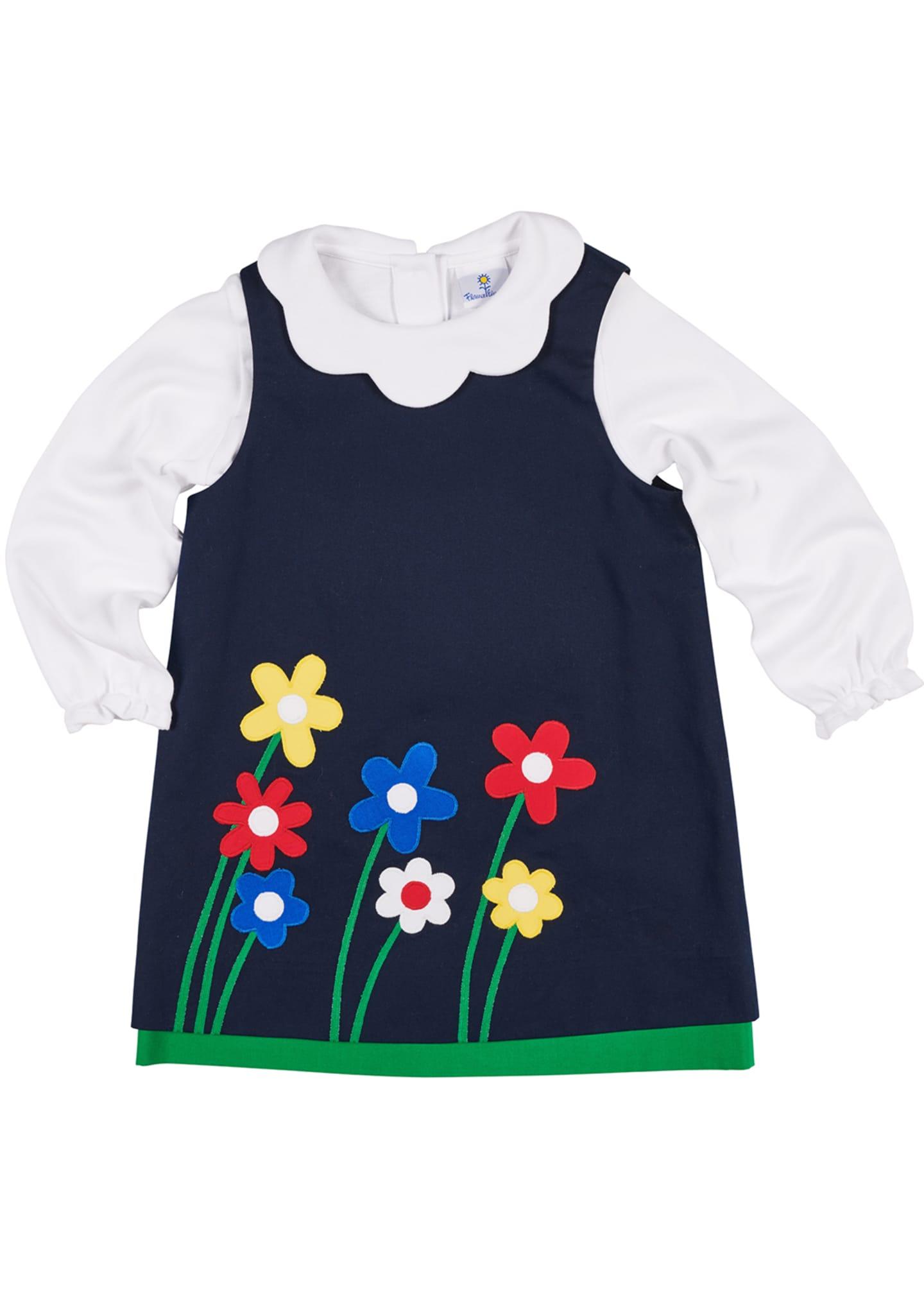 Florence Eiseman Twill Flower Appliqué Dress w/