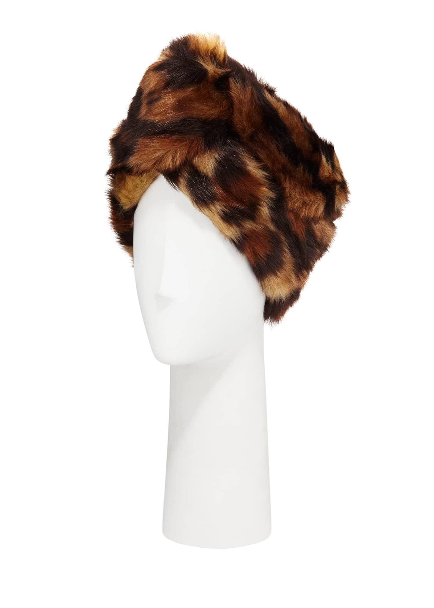 Gucci Leopard Print Faux-Fur Head Wrap