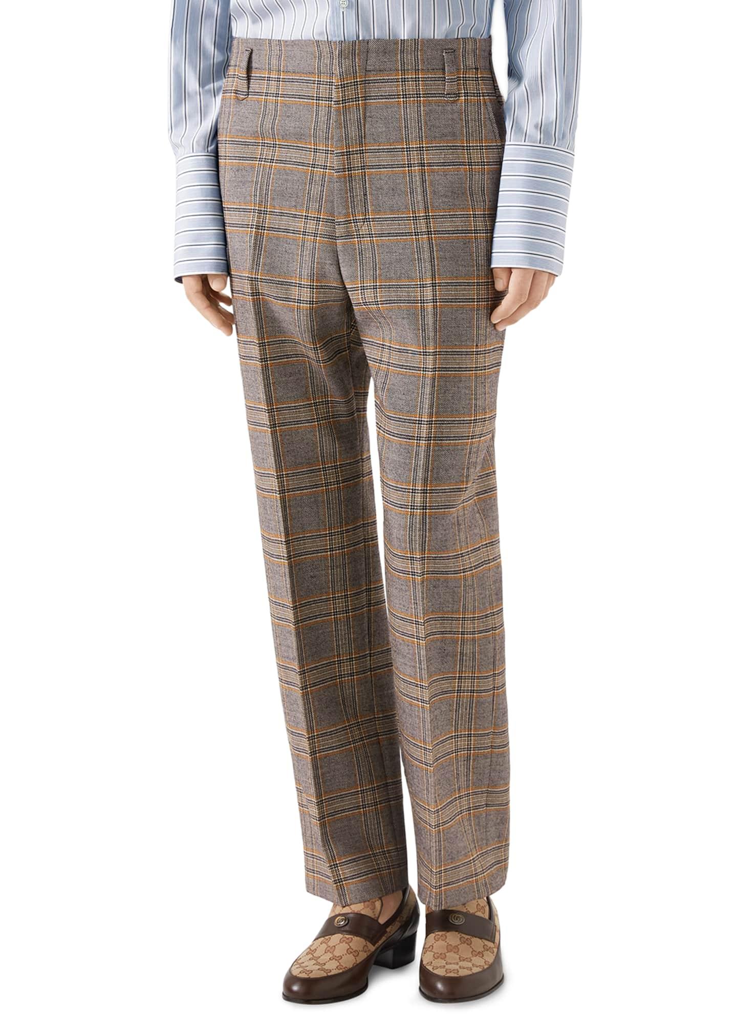 Gucci Men's 70s-Check Straight-Leg Trousers