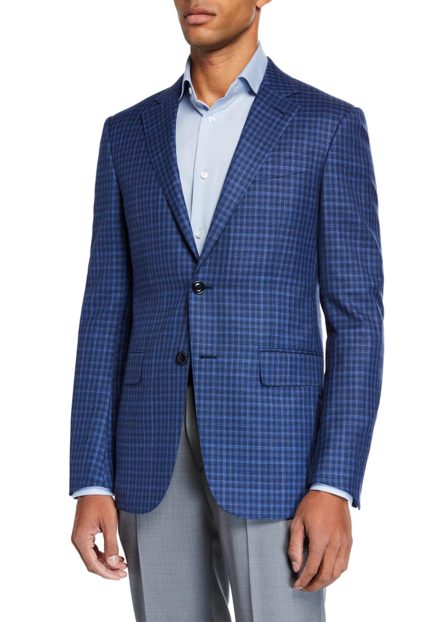 Ermenegildo Zegna Men's Gingham Check Wool Two-Button Jacket