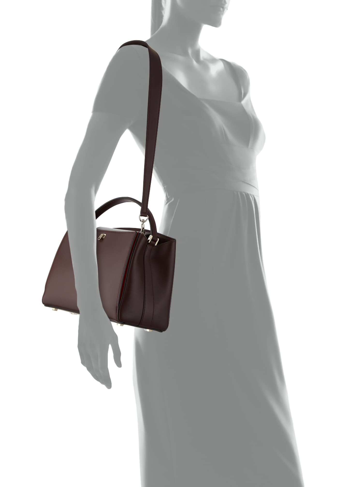 Image 3 of 3: Glossy Leather Brera Top Handle Bag