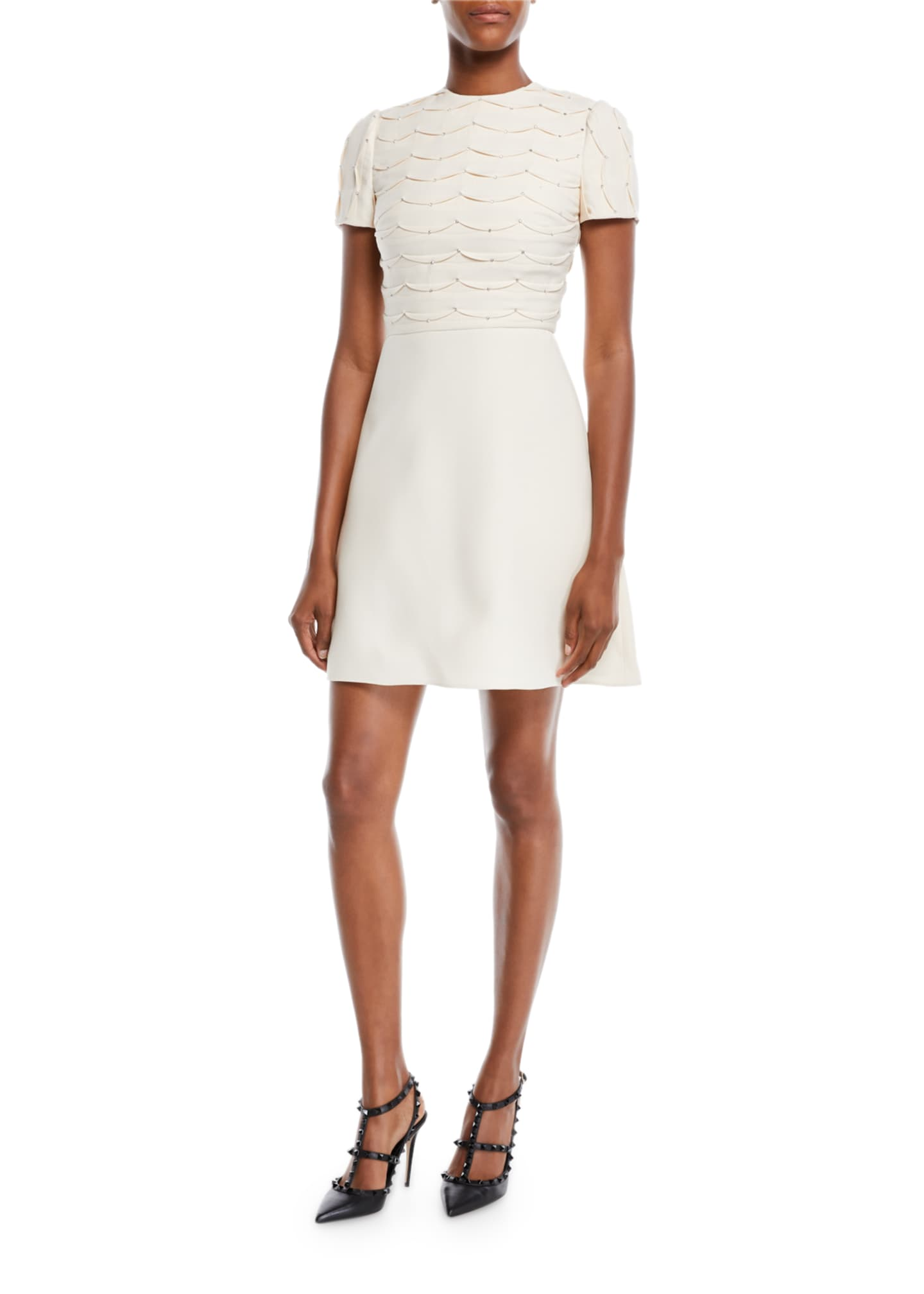 Valentino Short-Sleeve Scallop Crystal-Beaded A-Line Mini
