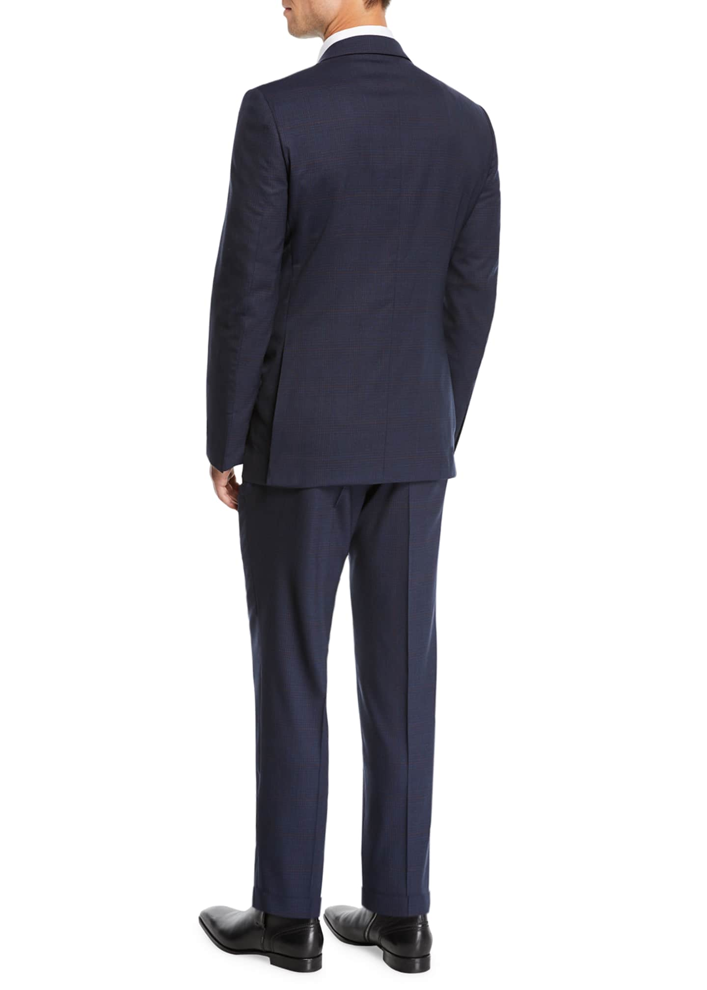 Image 3 of 4: Men's two-piece wool plaid suit