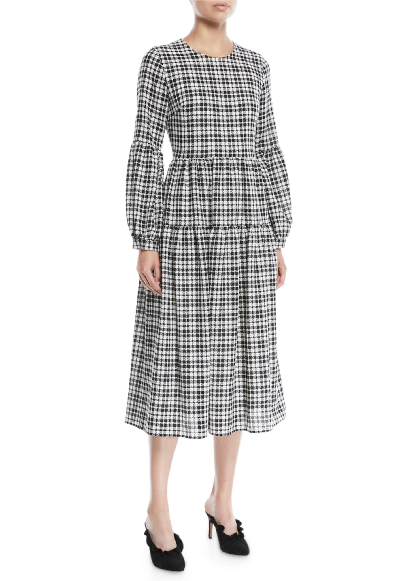 Novis The Darlington Crewneck Puff-Sleeve Plaid Wool Midi