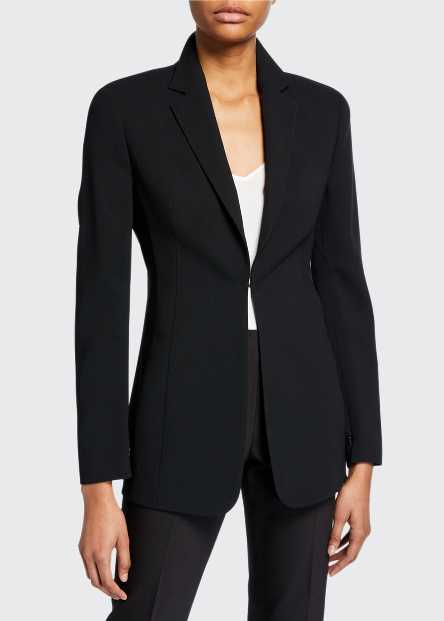 Image 2 of 3: Odette Long Wool Blazer Jacket