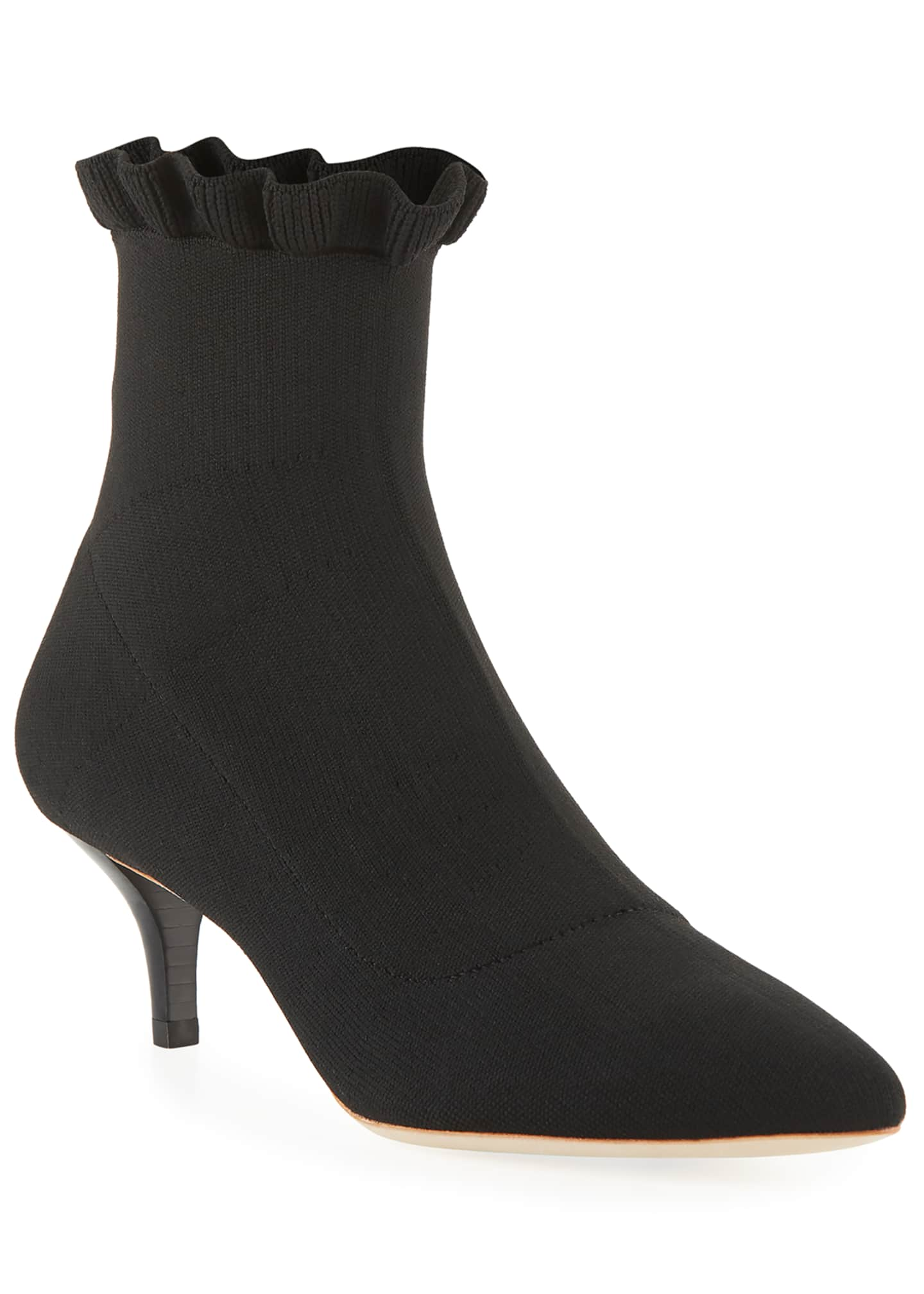 Loeffler Randall Kassidy Ruffled Stretch Knit Sock Booties
