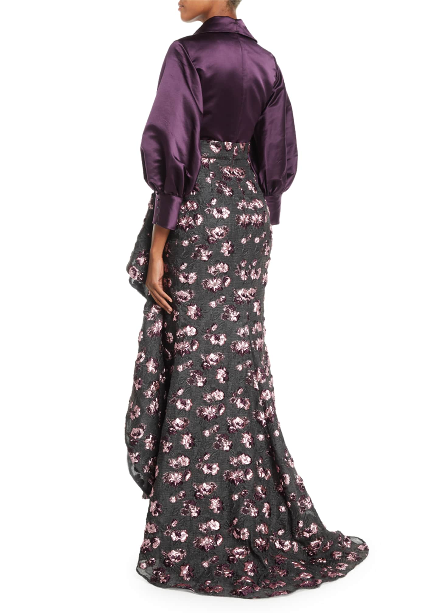Image 2 of 2: Split-Neck Long-Sleeve Satin-Top Cascade Floral-Embroidered Evening Gown