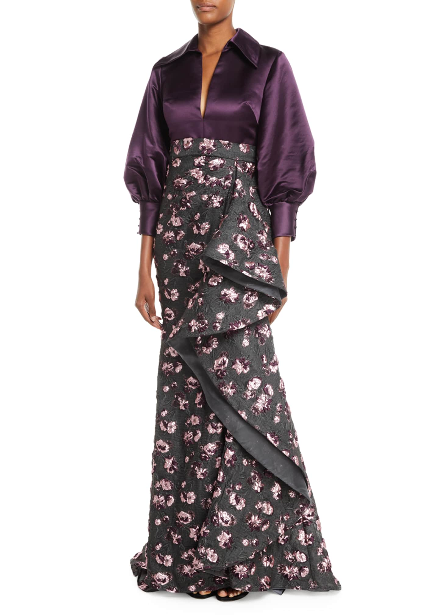 Image 1 of 2: Split-Neck Long-Sleeve Satin-Top Cascade Floral-Embroidered Evening Gown