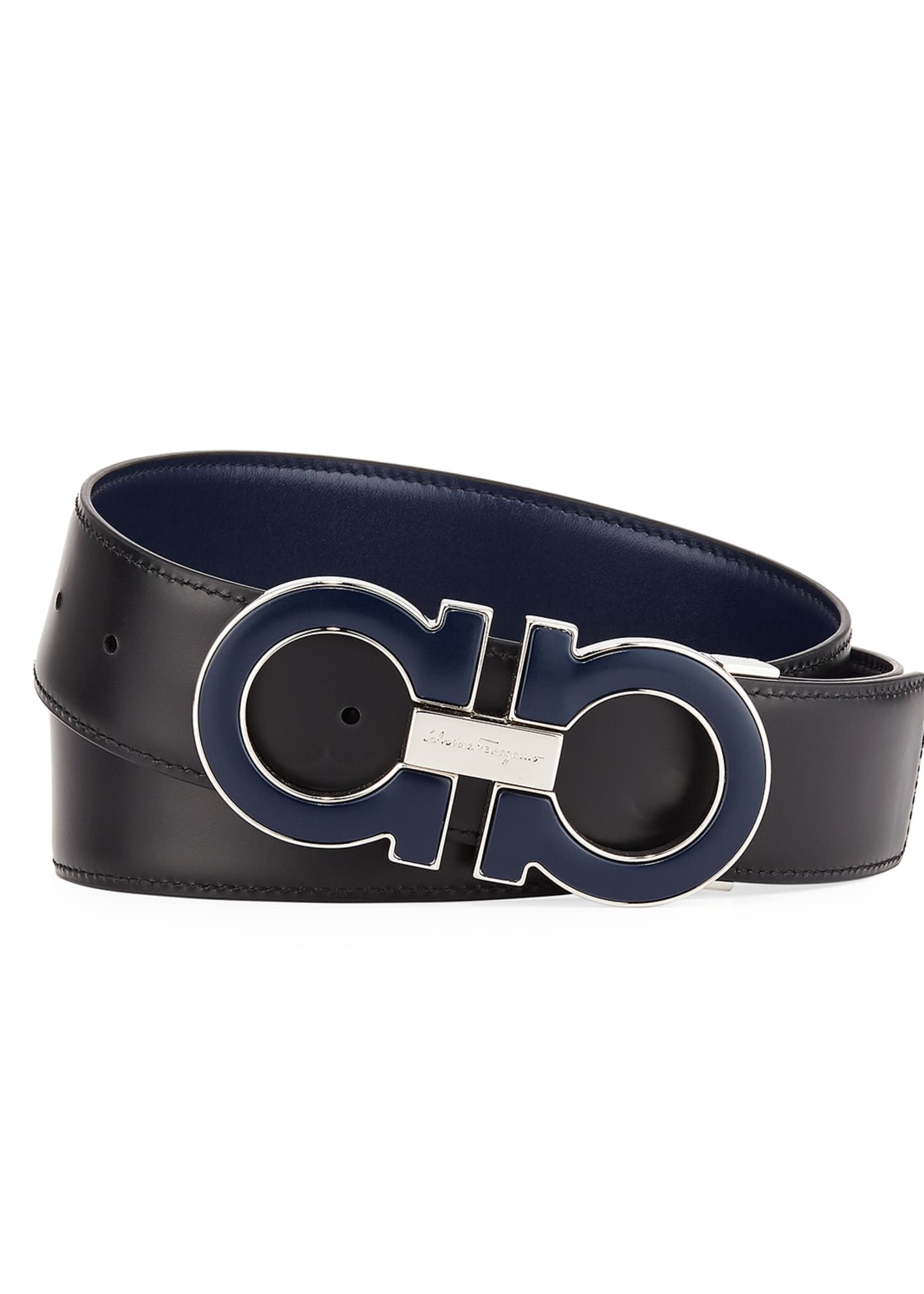 Image 2 of 2: Men's Smooth Calf Reversible Leather Belt