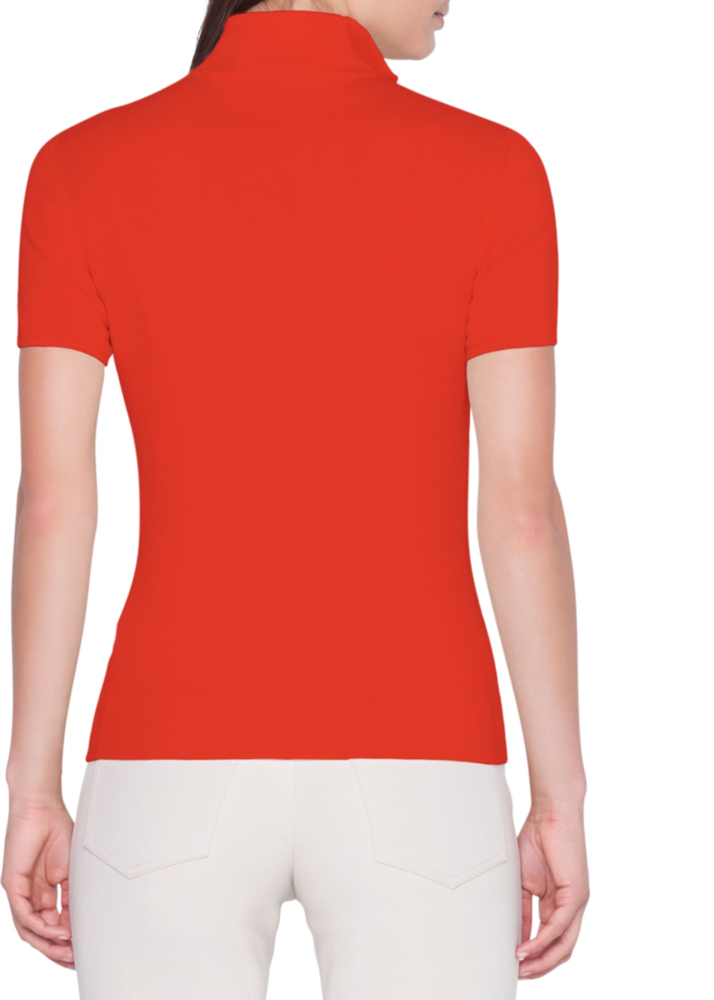 Image 2 of 3: Short-Sleeve Front-Zip Cashmere/Silk Sweater