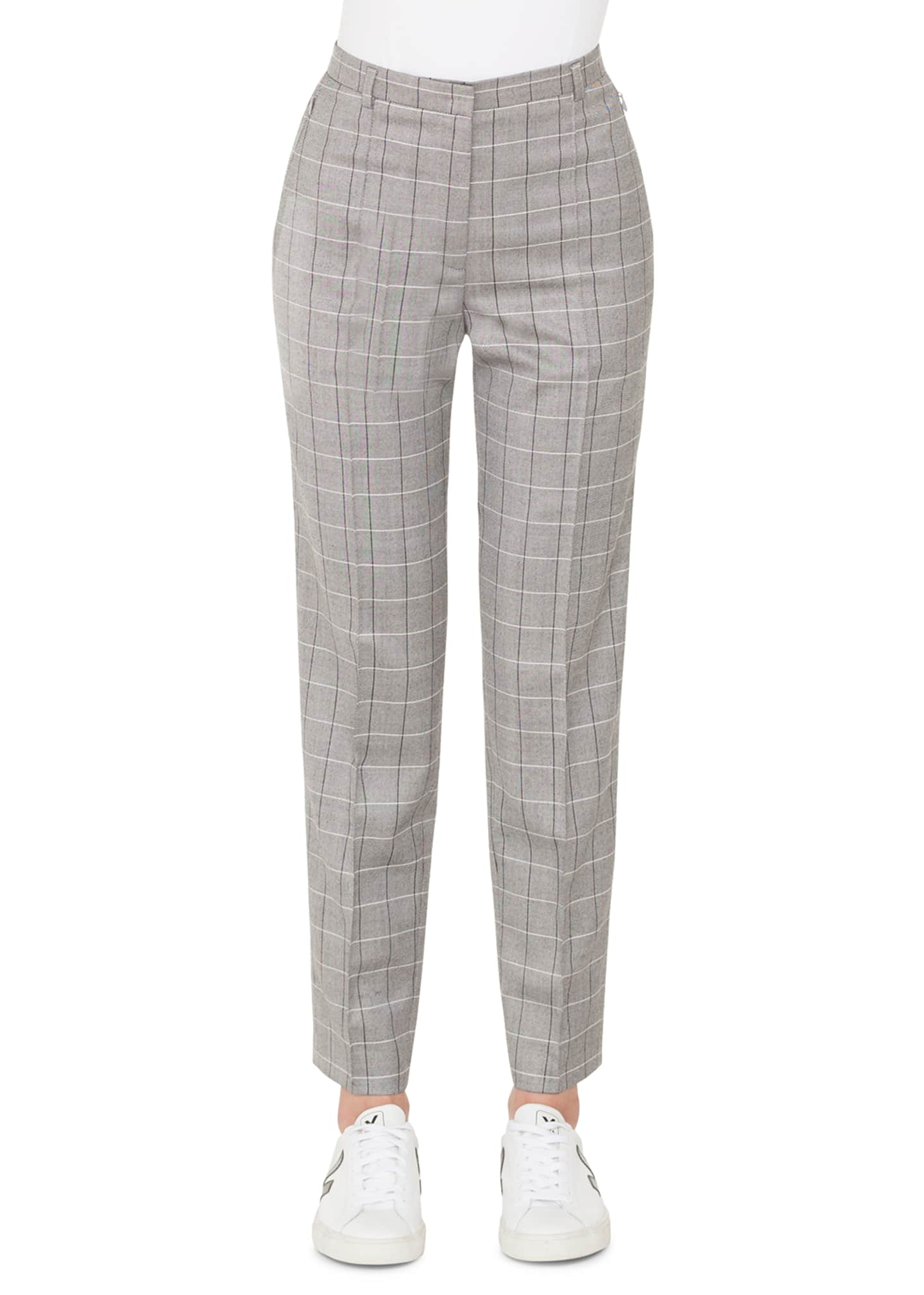 Akris Colin Plaid Straight-Leg Cool Wool Pants