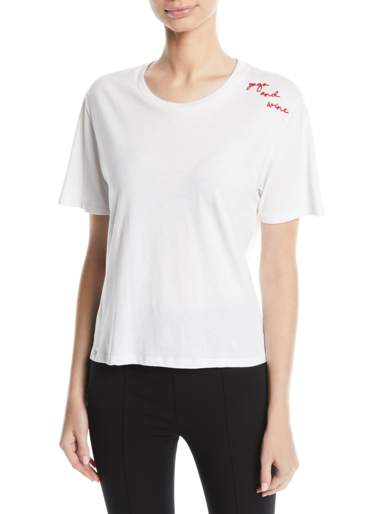 Image 1 of 2: Yoga And Wine Scoop-Neck Tee