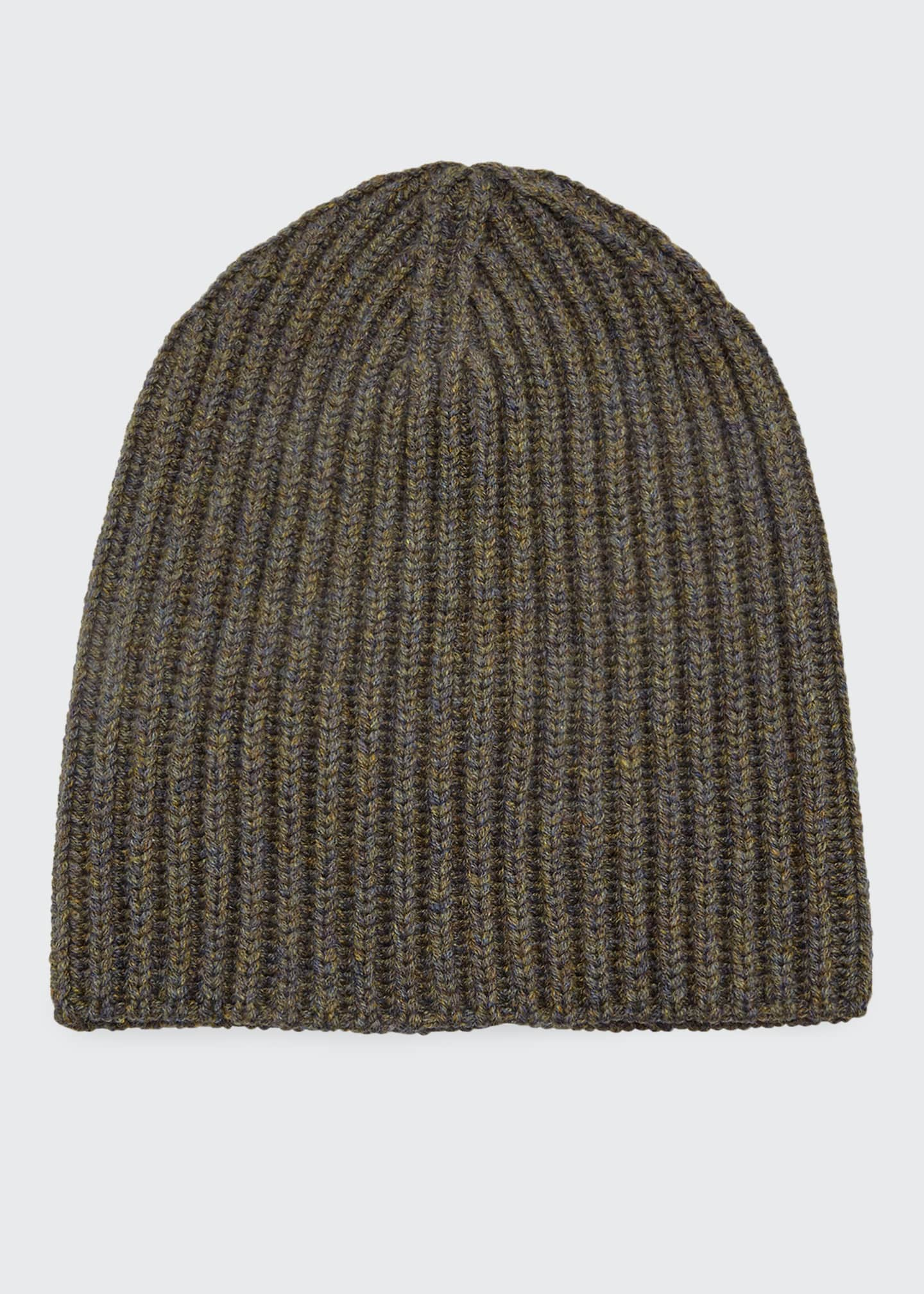 Image 1 of 1: Men's Cashmere Rib-Knit Beanie