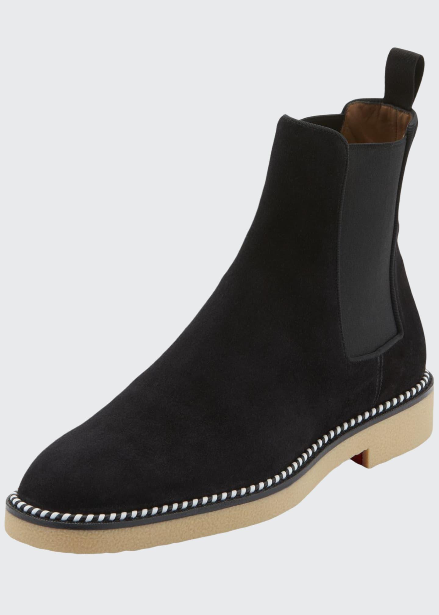 Christian Louboutin Men's Chelsea Crepe-Sole Suede Boots