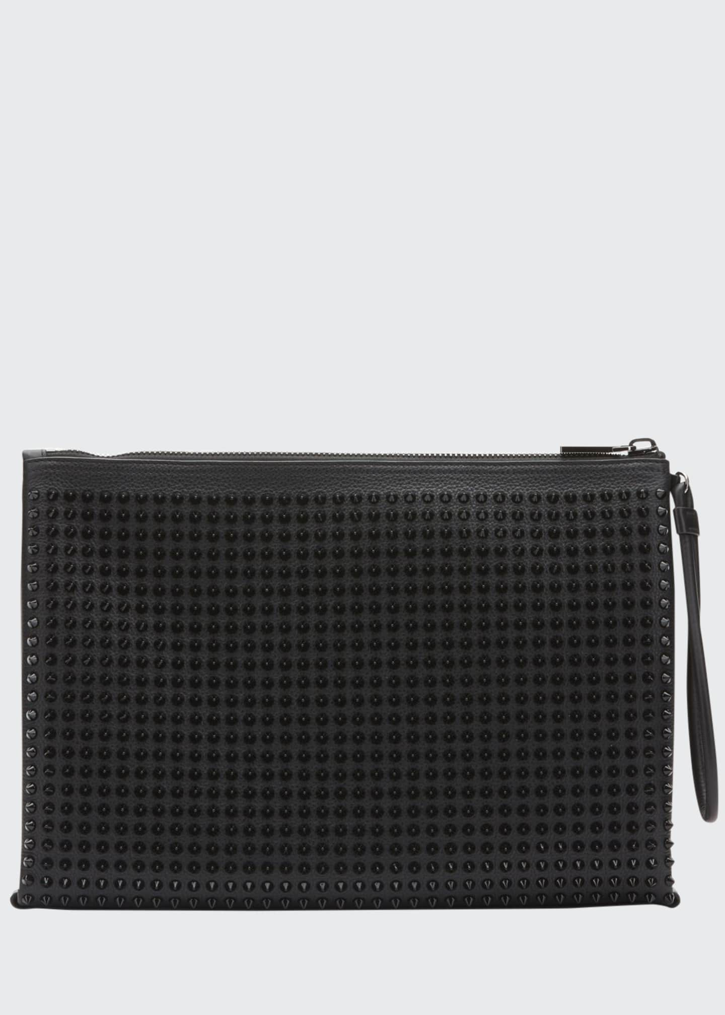 Christian Louboutin Men's Empire Spiked Leather Pouch Bag