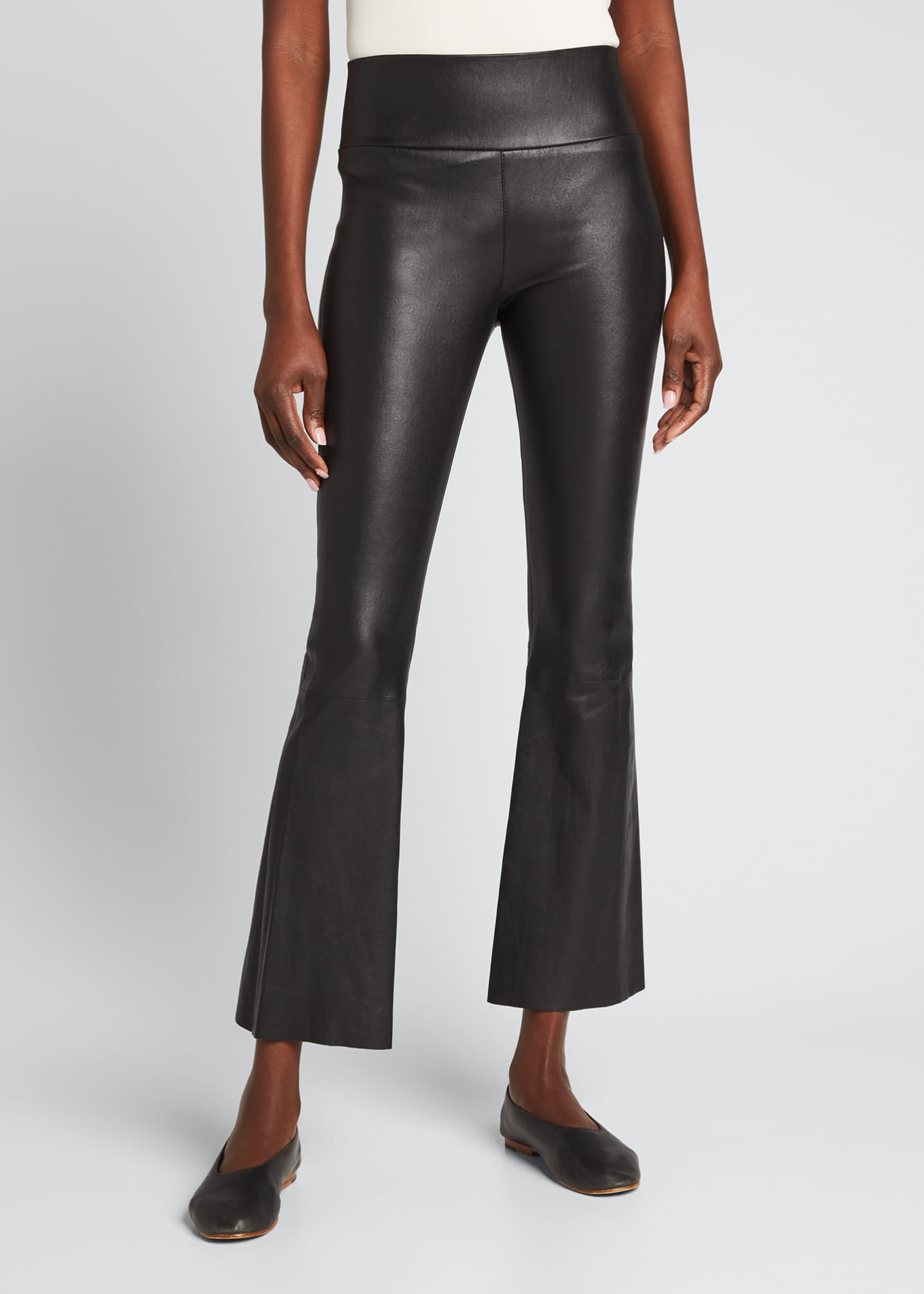 Image 3 of 3: High-Waist Flare-Leg Cropped Leather Leggings