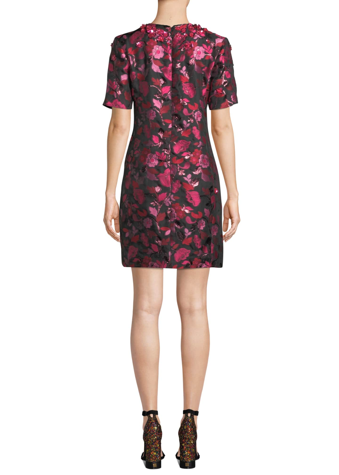 Image 2 of 3: 1/2-Sleeve Floral-Embroidered Jeweled-Neck Dress