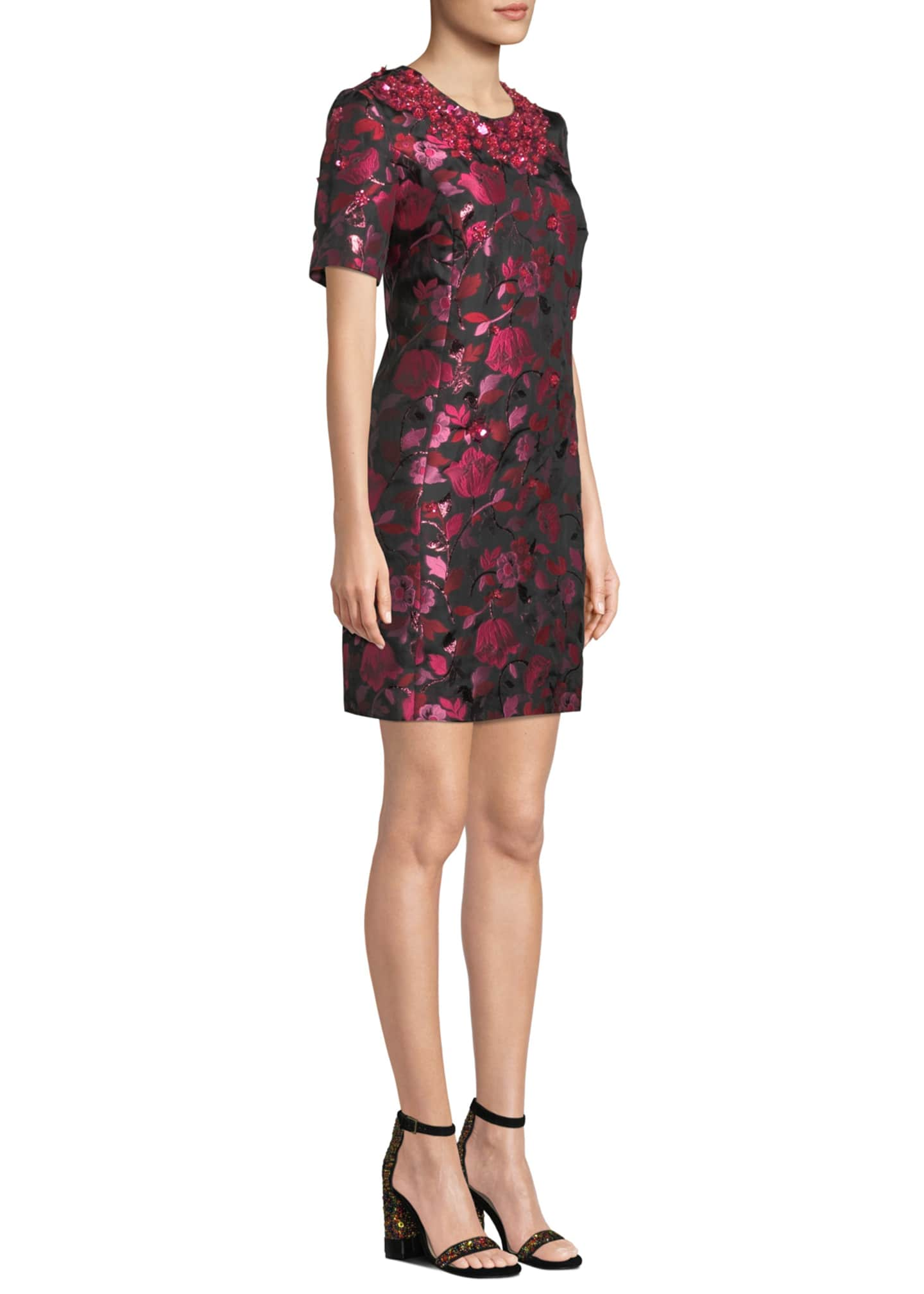 Image 3 of 3: 1/2-Sleeve Floral-Embroidered Jeweled-Neck Dress
