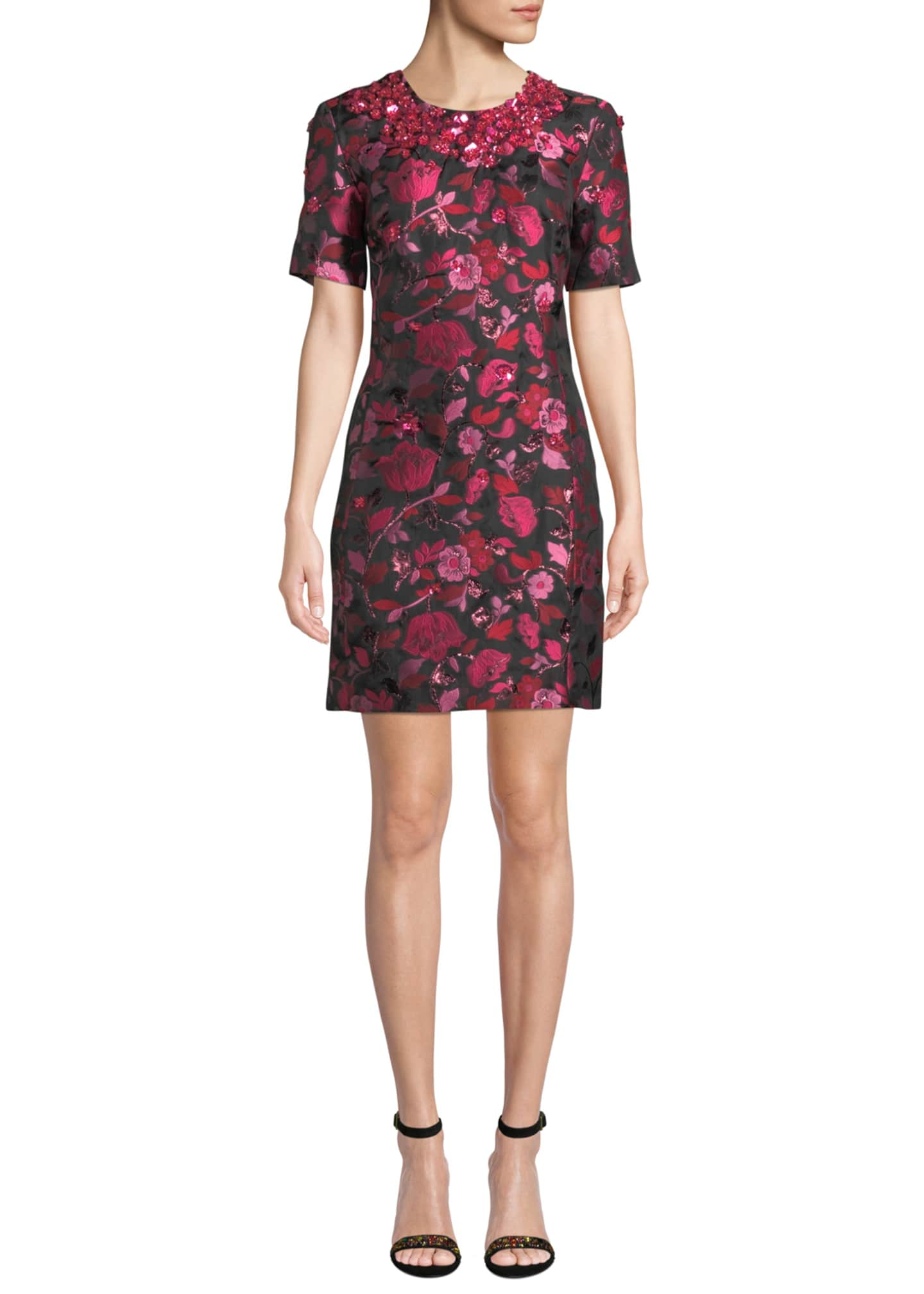 Image 1 of 3: 1/2-Sleeve Floral-Embroidered Jeweled-Neck Dress