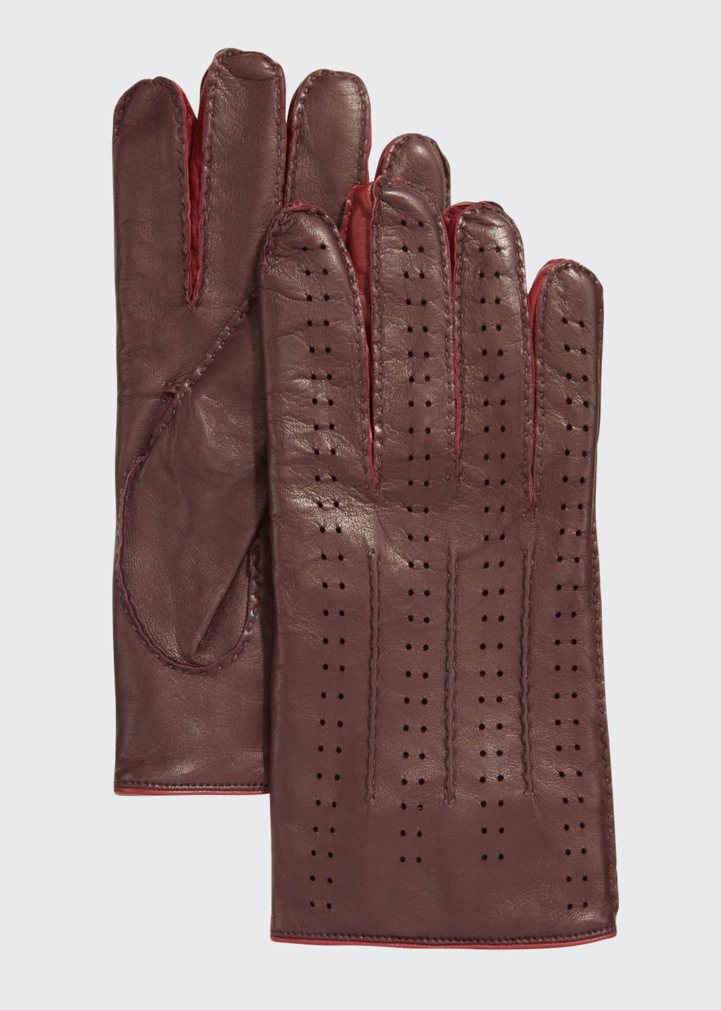 Guanti Giglio Fiorentino Men's Two-Tone Perforated Napa Leather