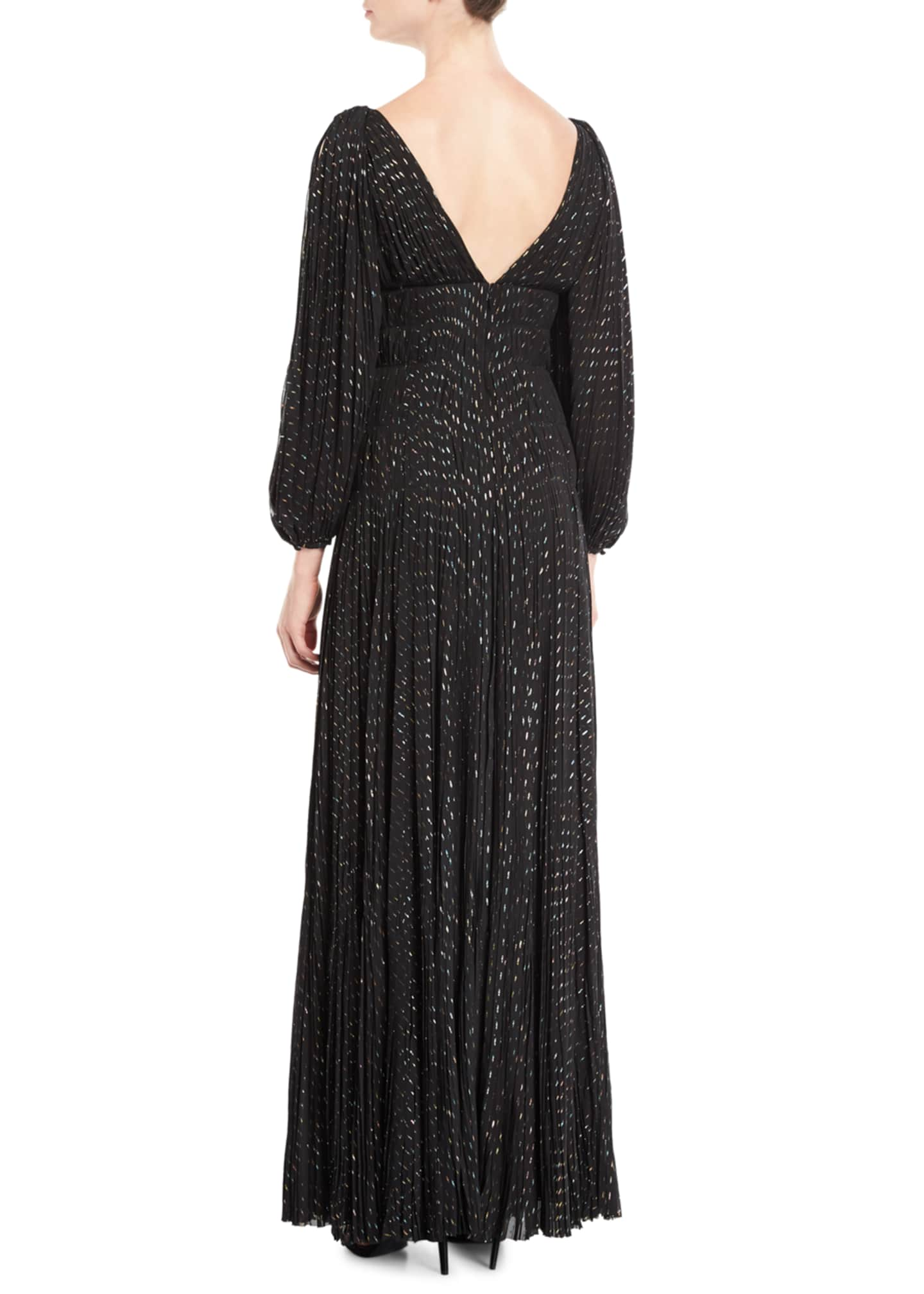 Image 2 of 2: V-Neck Puff-Sleeve Fitted-Waist Metallic-Dot Evening Gown