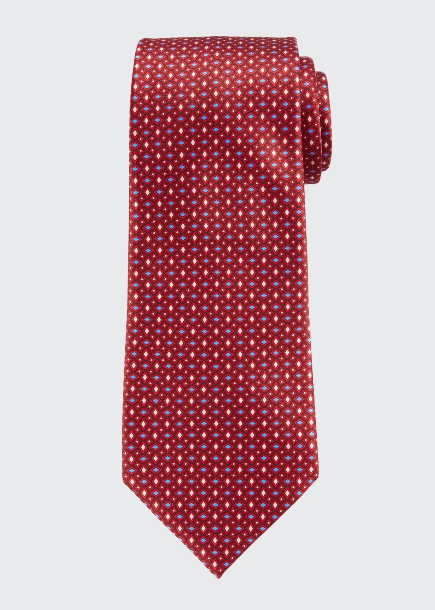 Ermenegildo Zegna Men's Alternating Diamonds Silk Tie, Red