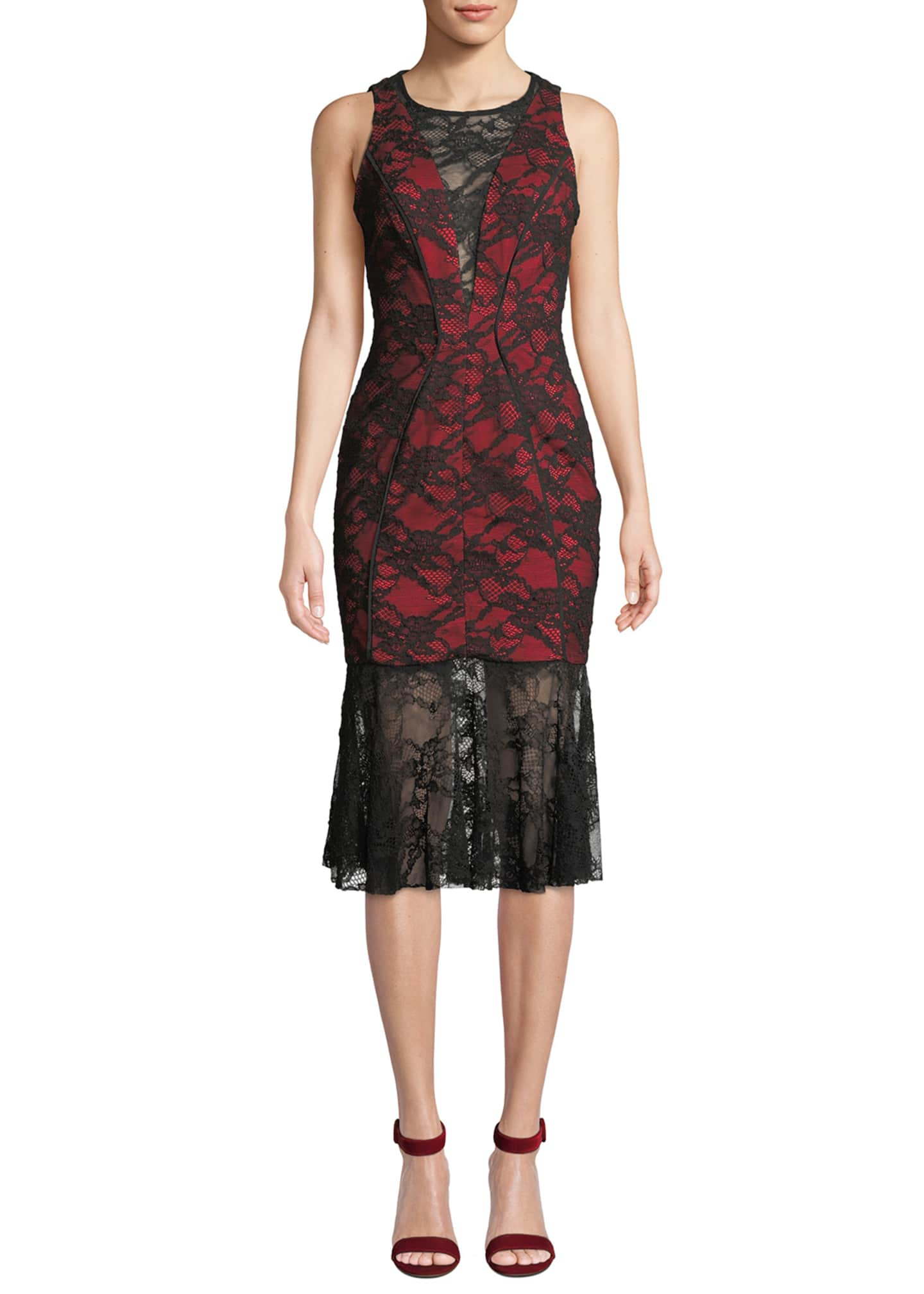 Milly Lillian Italian Stretch Lace Midi Dress
