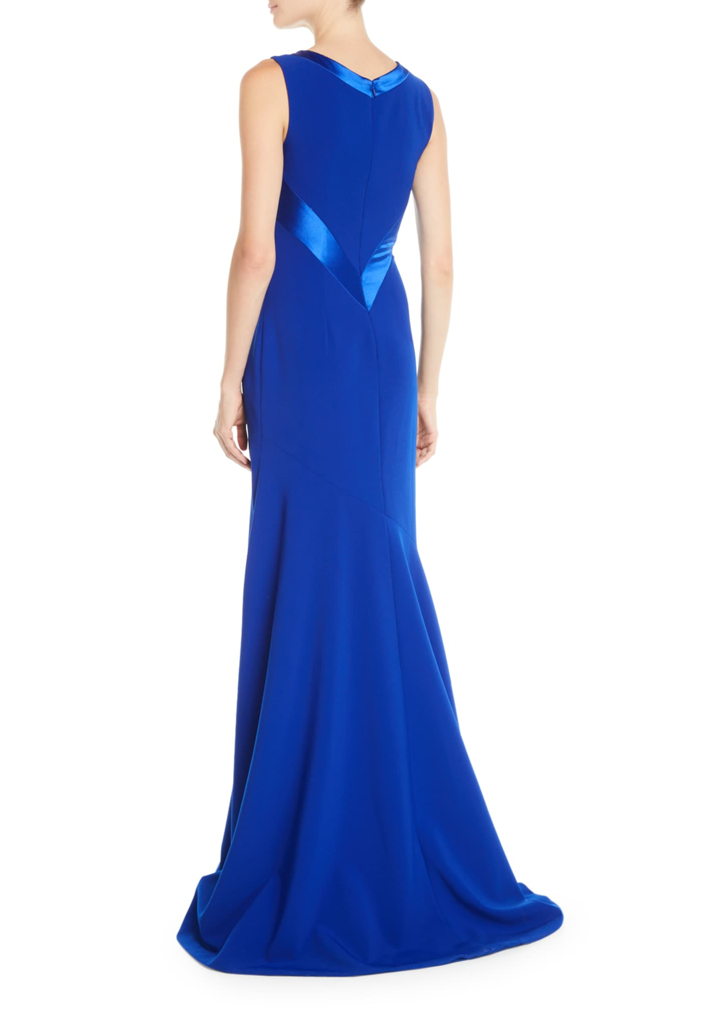 Image 2 of 2: Sleeveless Crepe Gown w/ Satin Crisscross