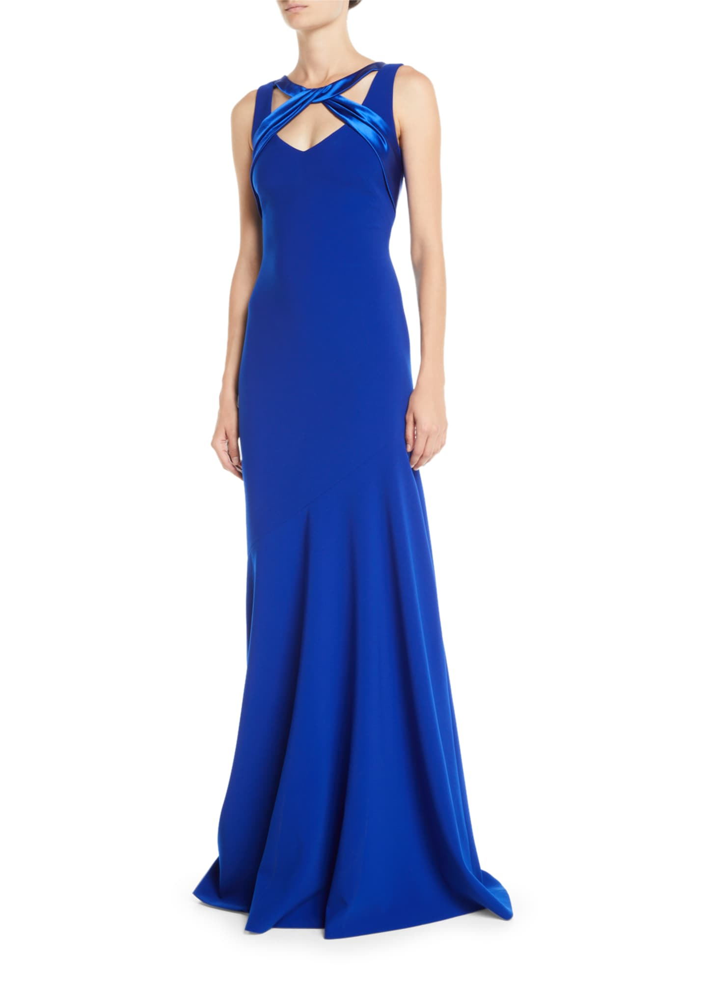 Image 1 of 2: Sleeveless Crepe Gown w/ Satin Crisscross