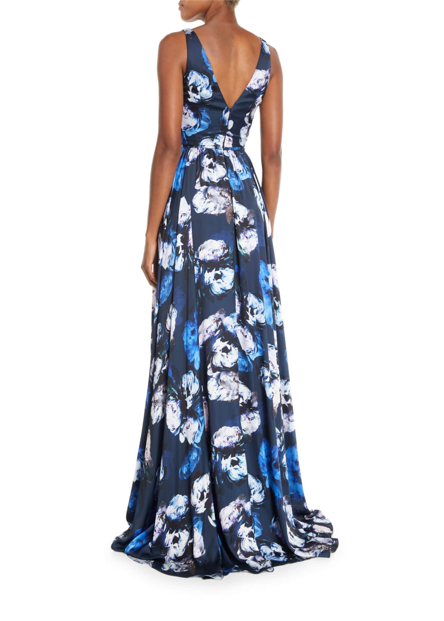 Image 2 of 2: Sleeveless Digital Floral-Print Charmeuse Gown