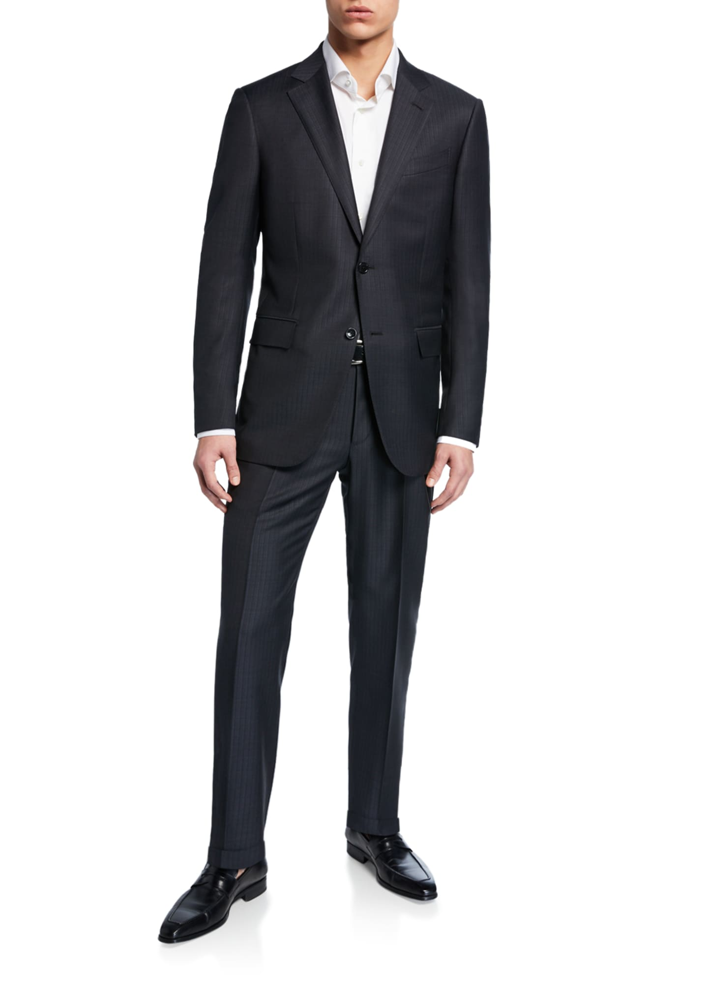 Image 2 of 4: Men's Tonal Stripe Two-Piece Wool/Silk Suit