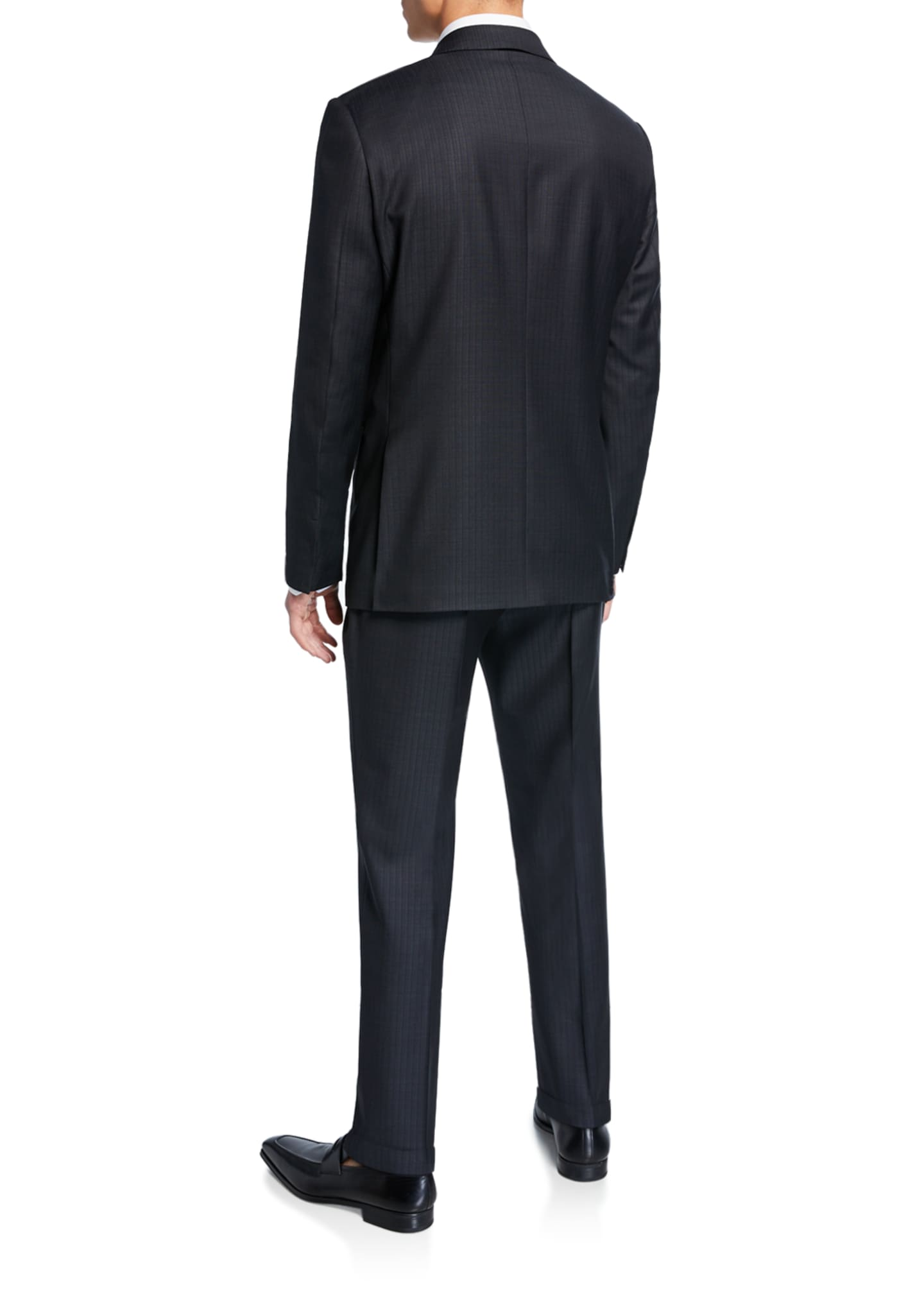Image 3 of 4: Men's Tonal Stripe Two-Piece Wool/Silk Suit