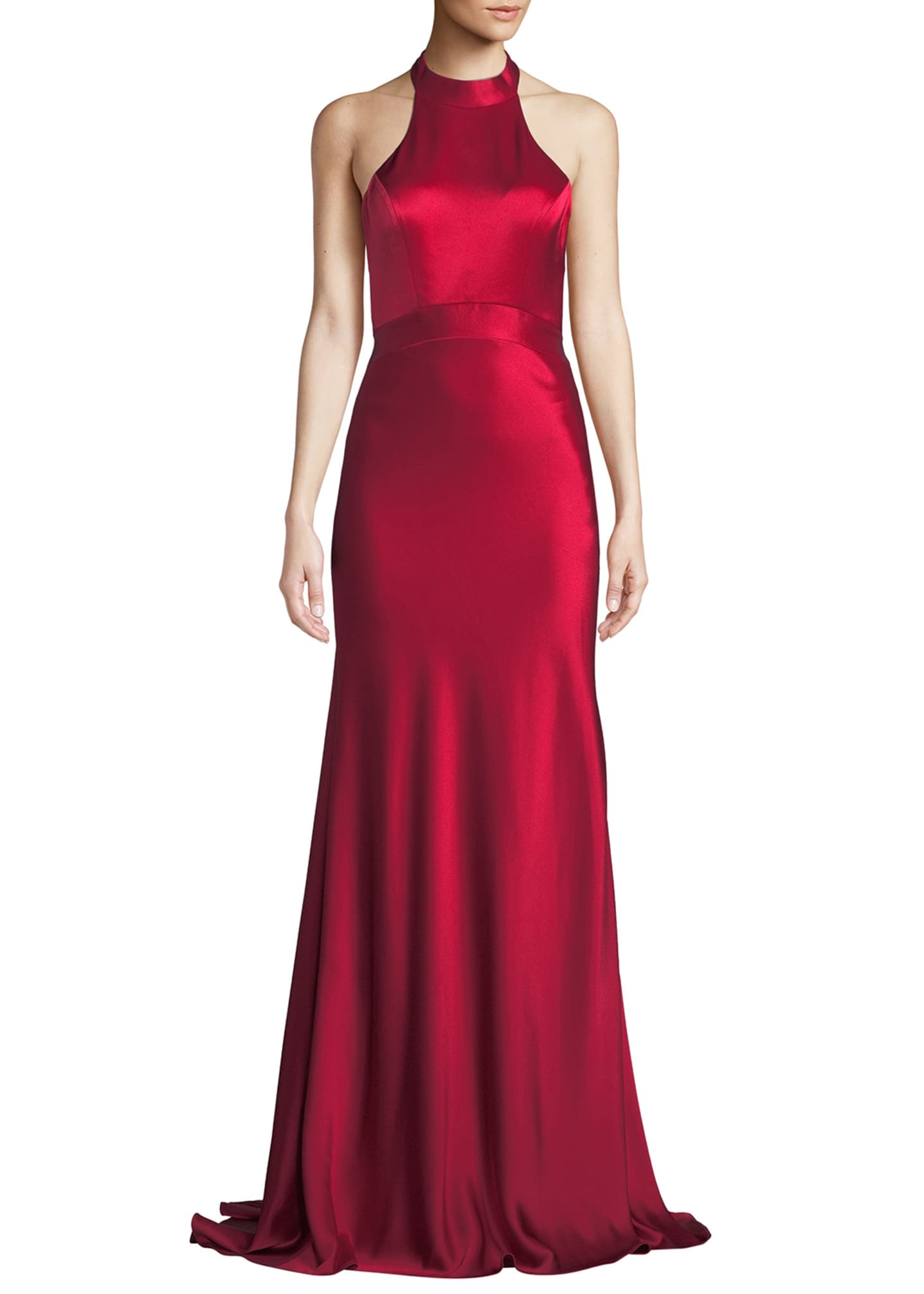 Catherine Deane Kin Satin Halter Gown w/ Open