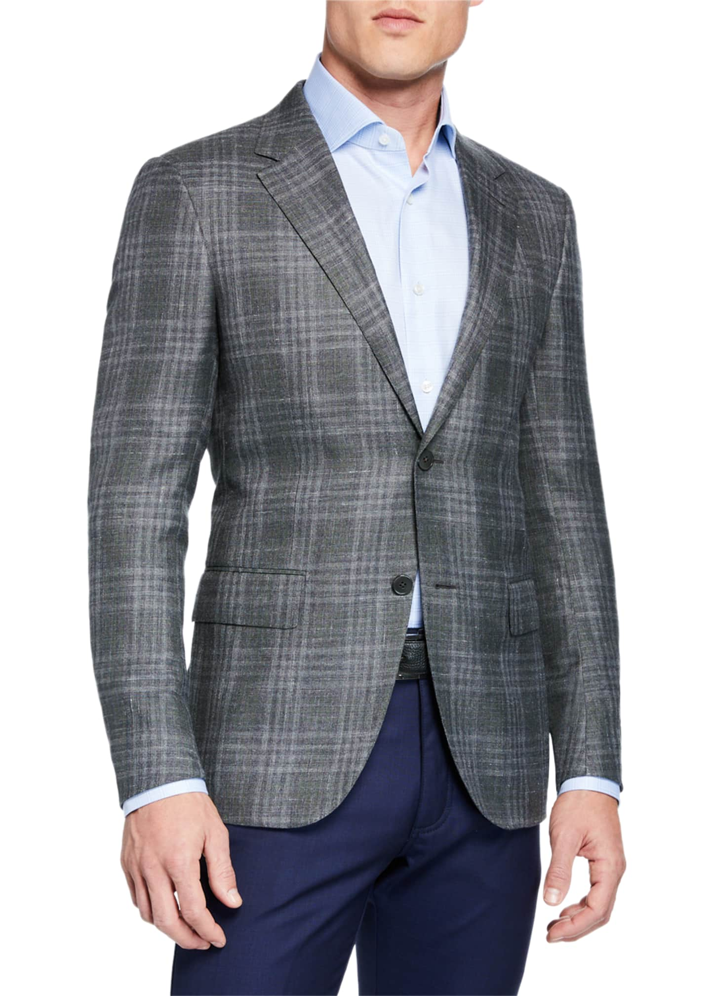 Ermenegildo Zegna Men's Cashmere/Silk Plaid Sport Coat