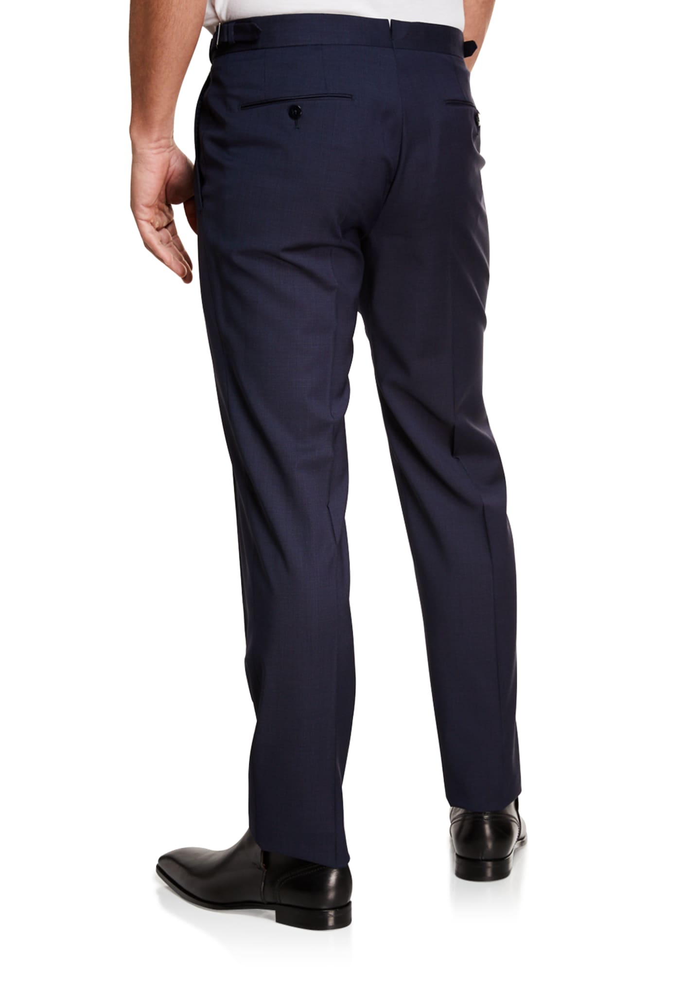 Image 2 of 3: Men's Tic Stretch-Wool Flat-Front Trousers