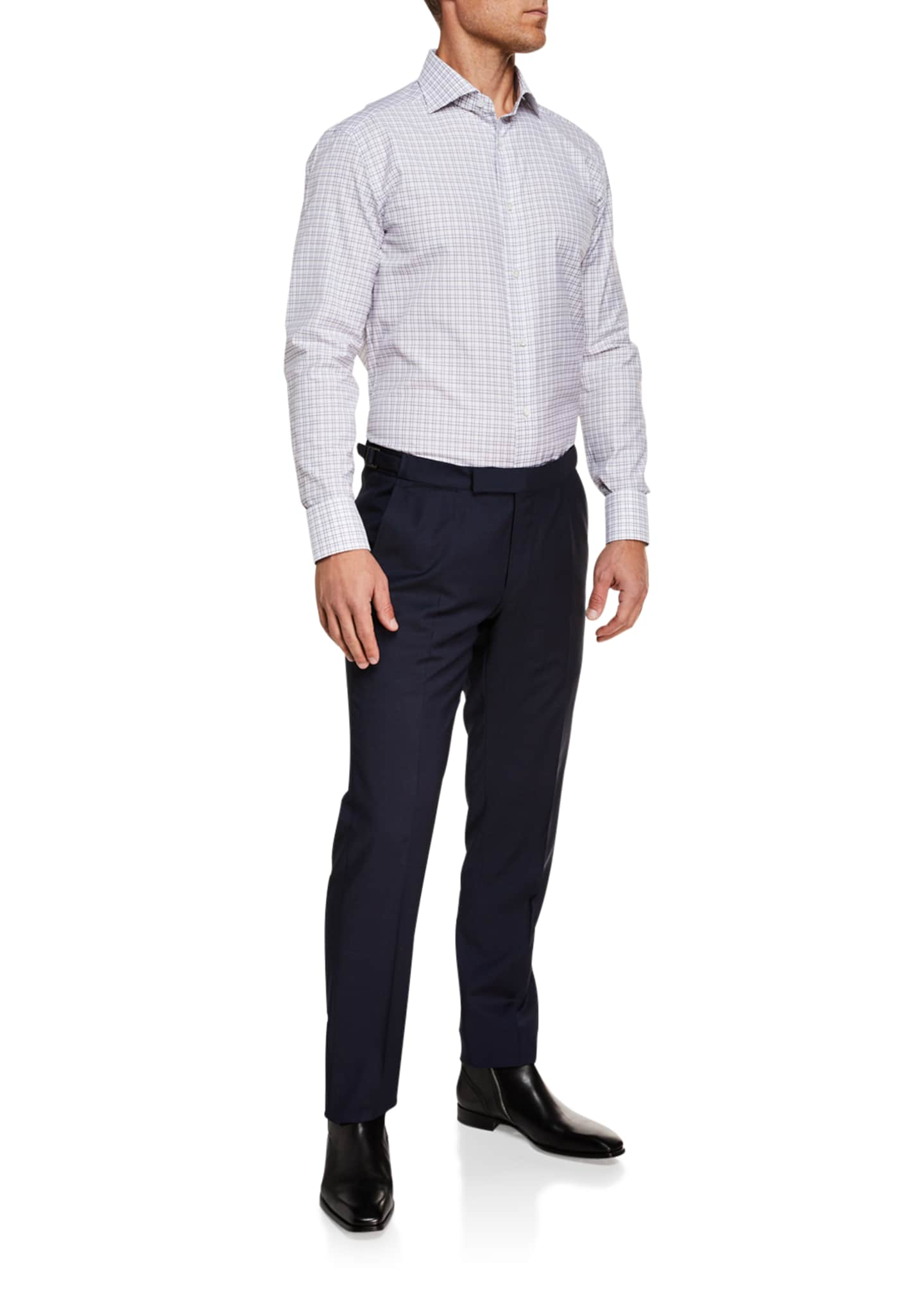 Image 3 of 3: Men's Tic Stretch-Wool Flat-Front Trousers