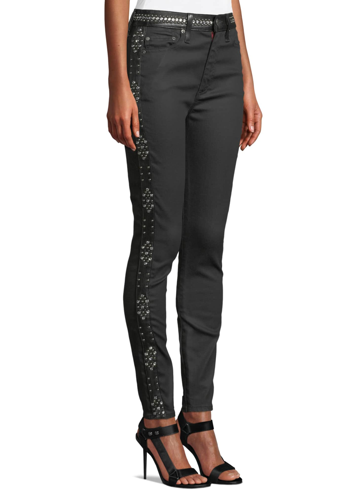 Image 3 of 4: Good High-Rise Studded Ankle Skinny Jeans