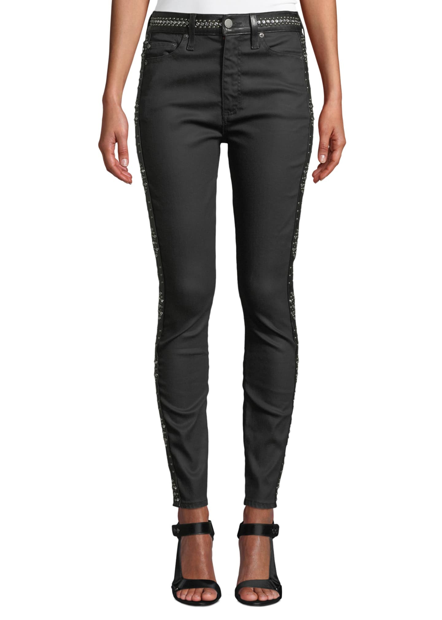 Image 1 of 4: Good High-Rise Studded Ankle Skinny Jeans
