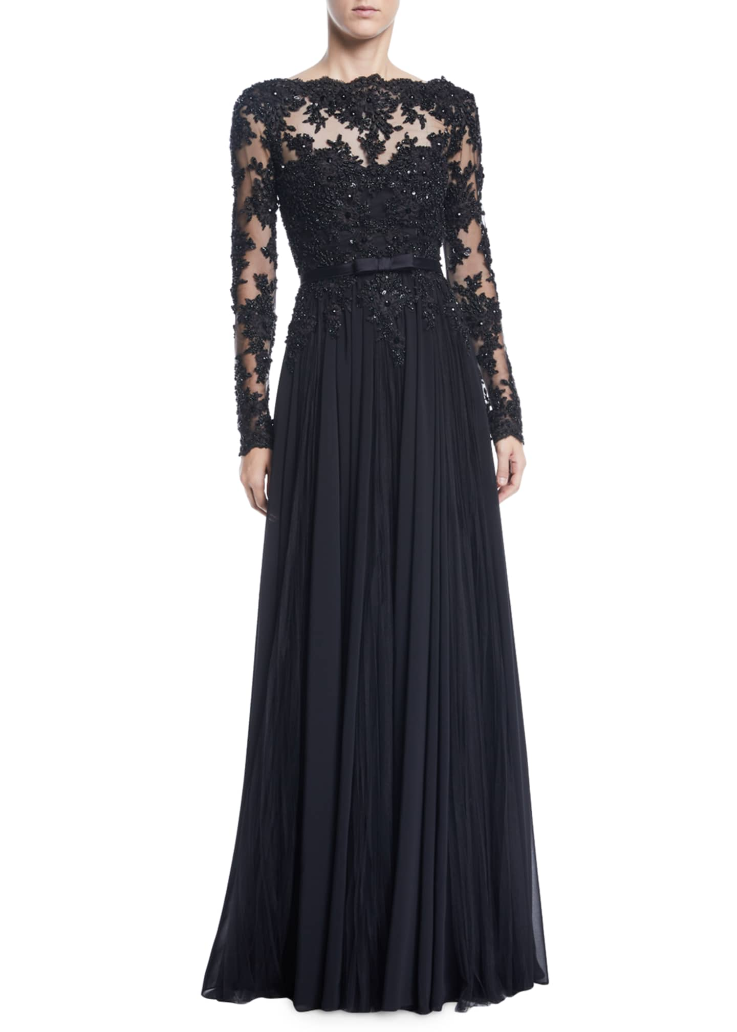 Badgley Mischka Collection Long-Sleeve Bead, Lace & Tulle