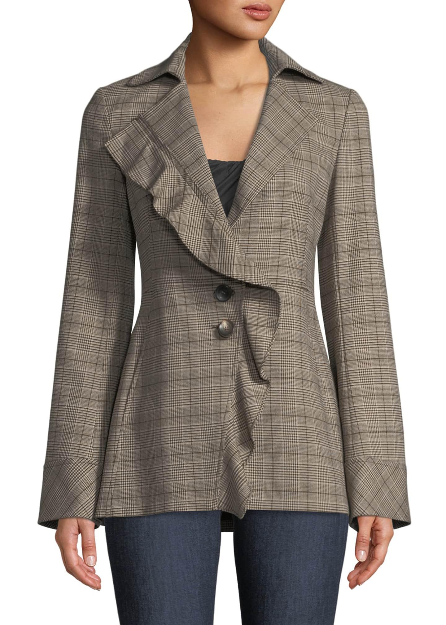 Nanette Lepore Jailbird Plaid & Ruffle Jacket