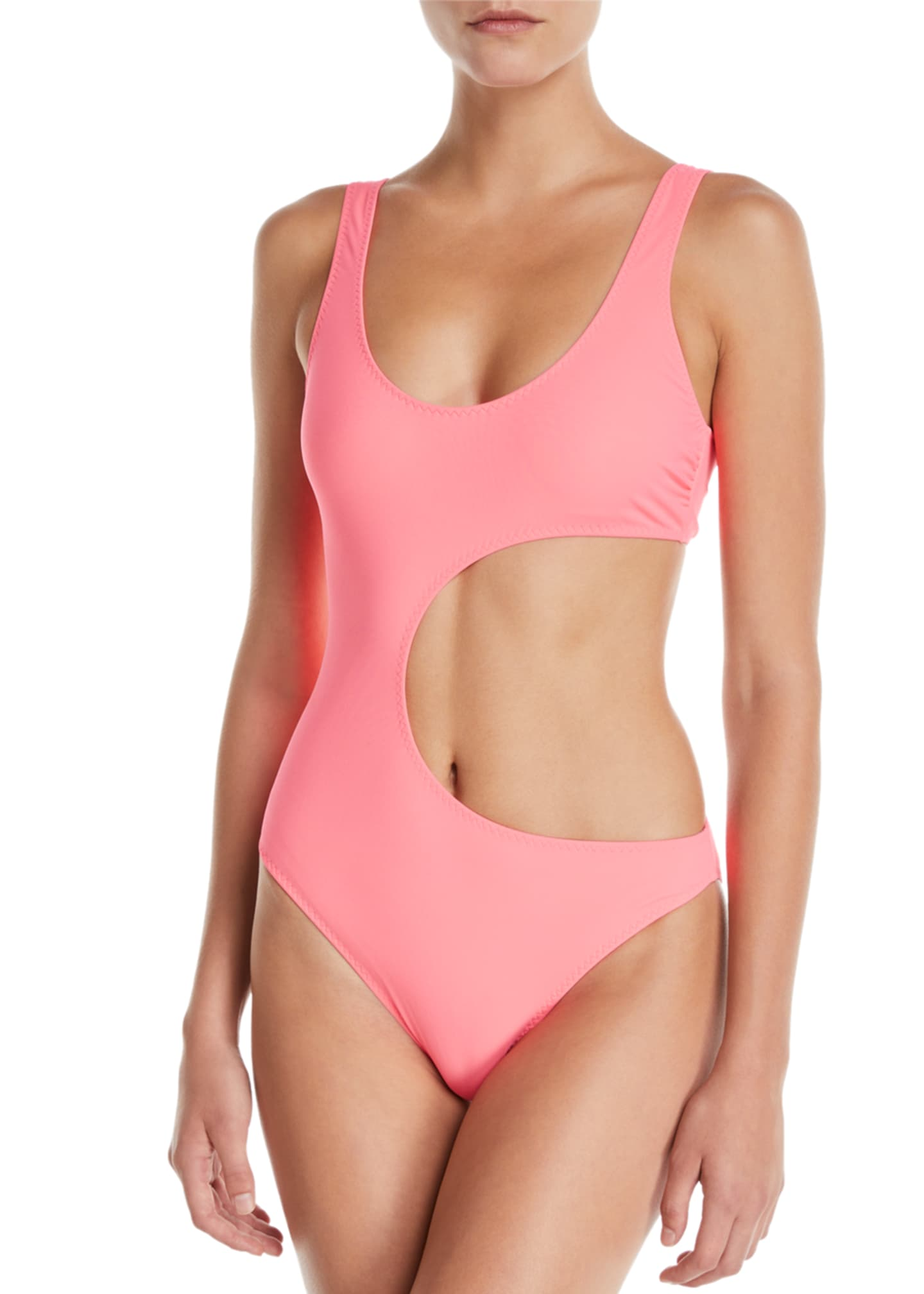 Stella McCartney 90s Fluo Scoop-Neck Cutout One-Piece Swimsuit