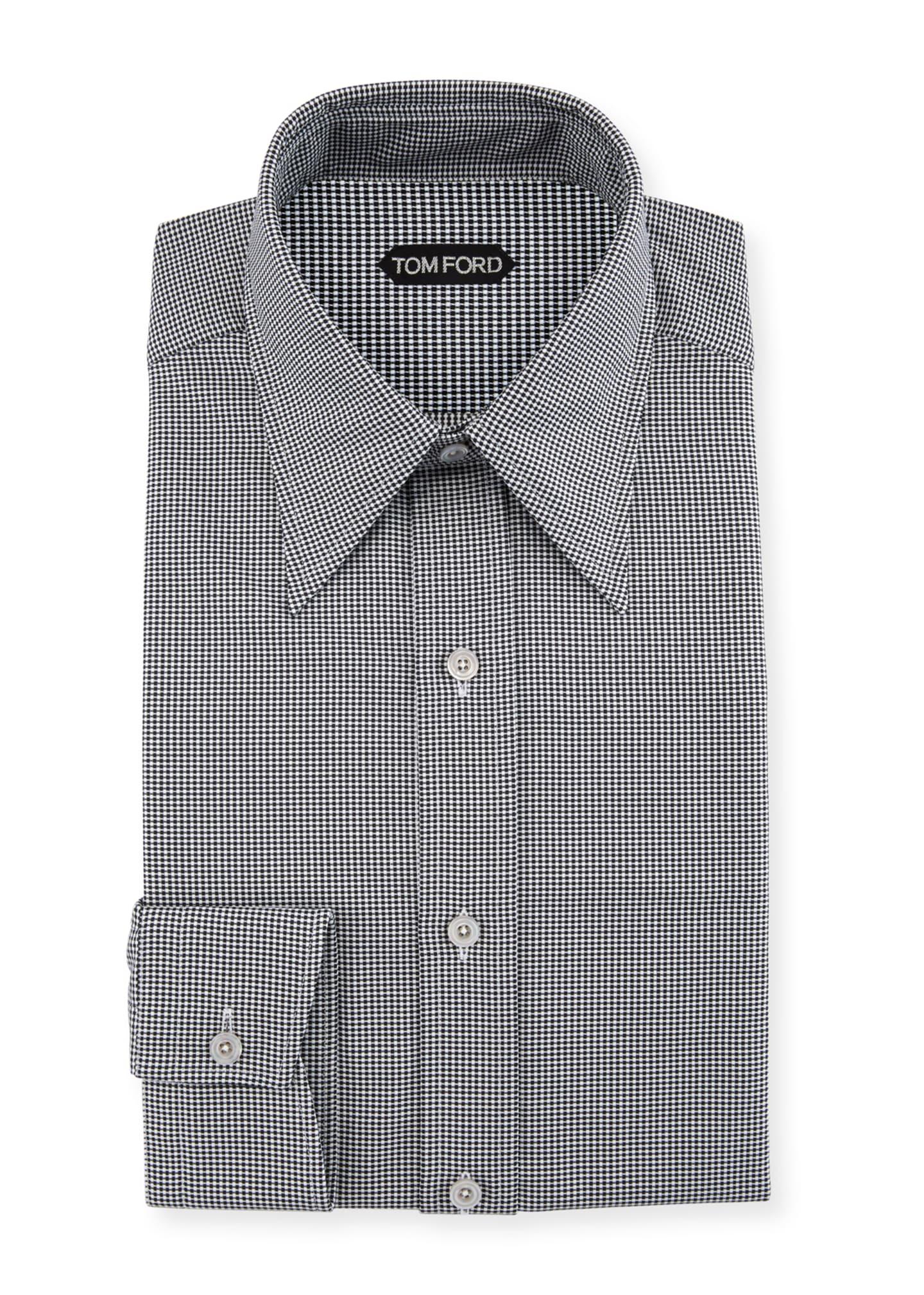 TOM FORD Men's Hopsack Pointed-Collar Dress Shirt