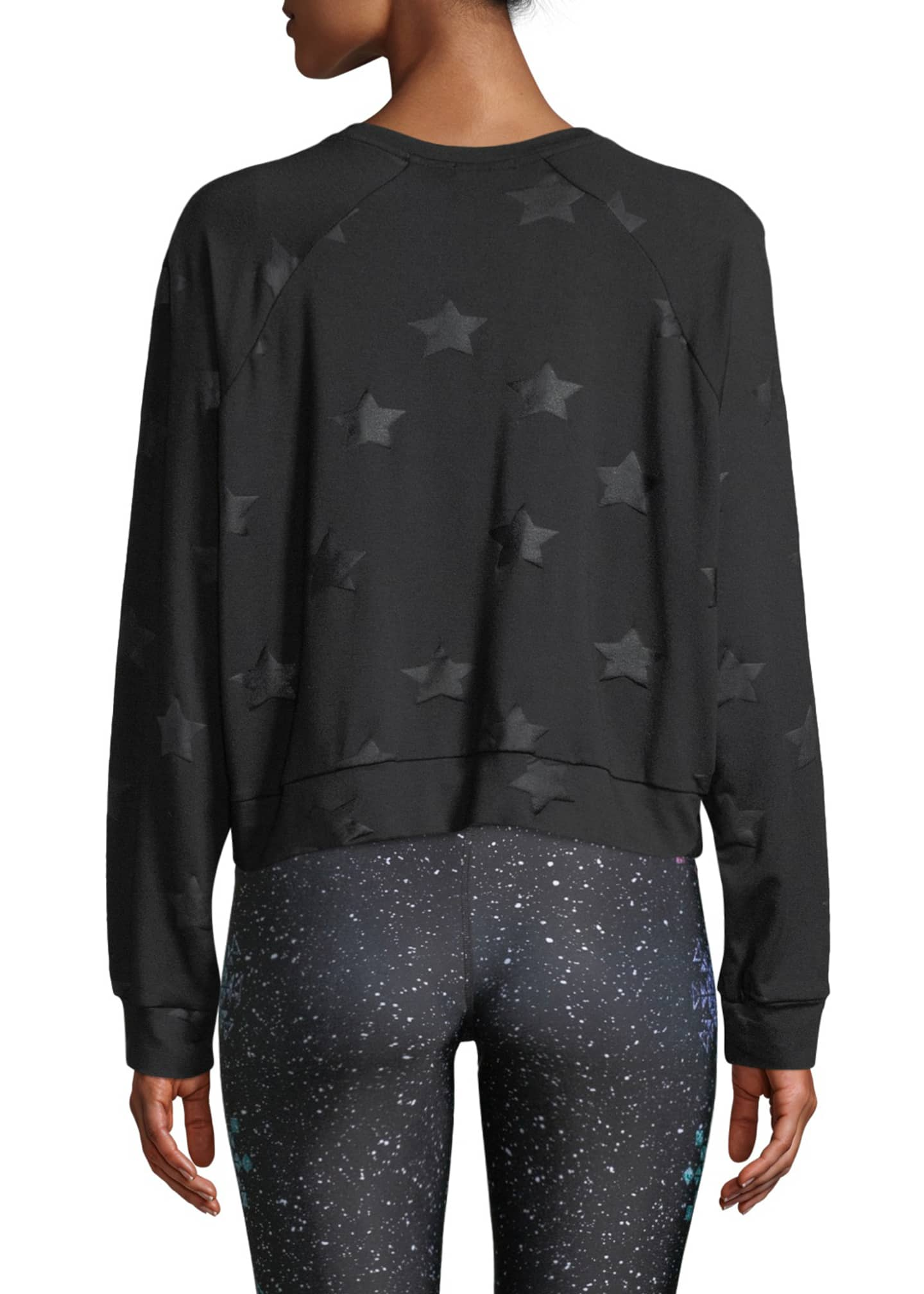 Image 2 of 4: Star-Print Foil Cropped Crewneck Sweatshirt